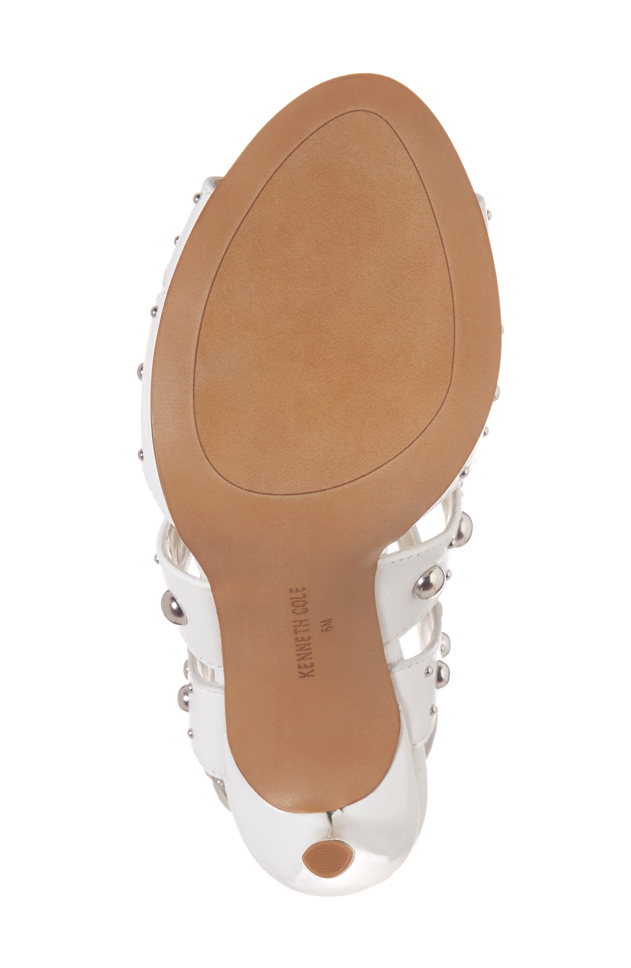 Baldwin Stud Sandal,                             Alternate thumbnail 6, color,                             White Leather