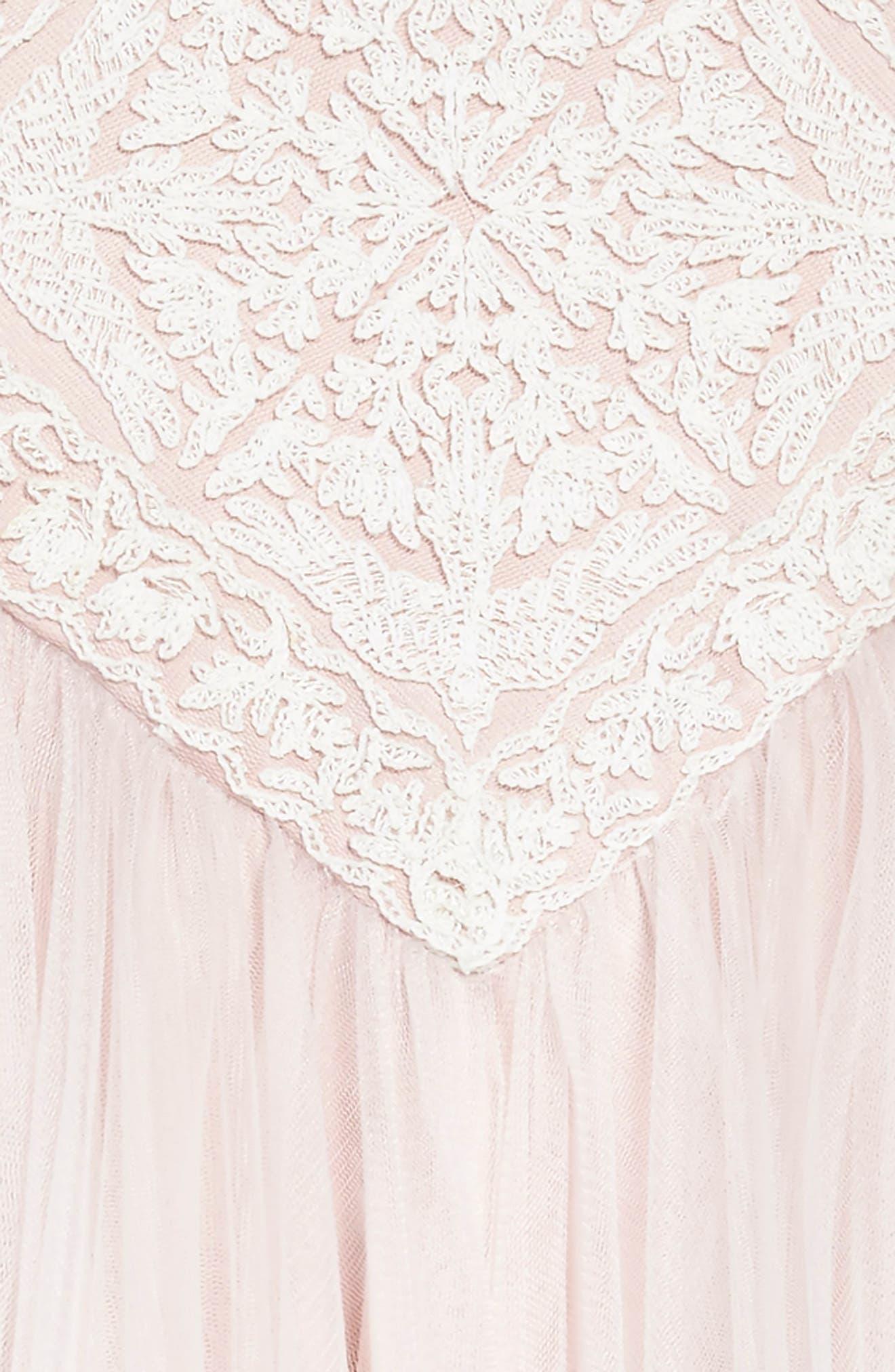 Lace Tulle Dress,                             Alternate thumbnail 3, color,                             Ivory/ Primrose