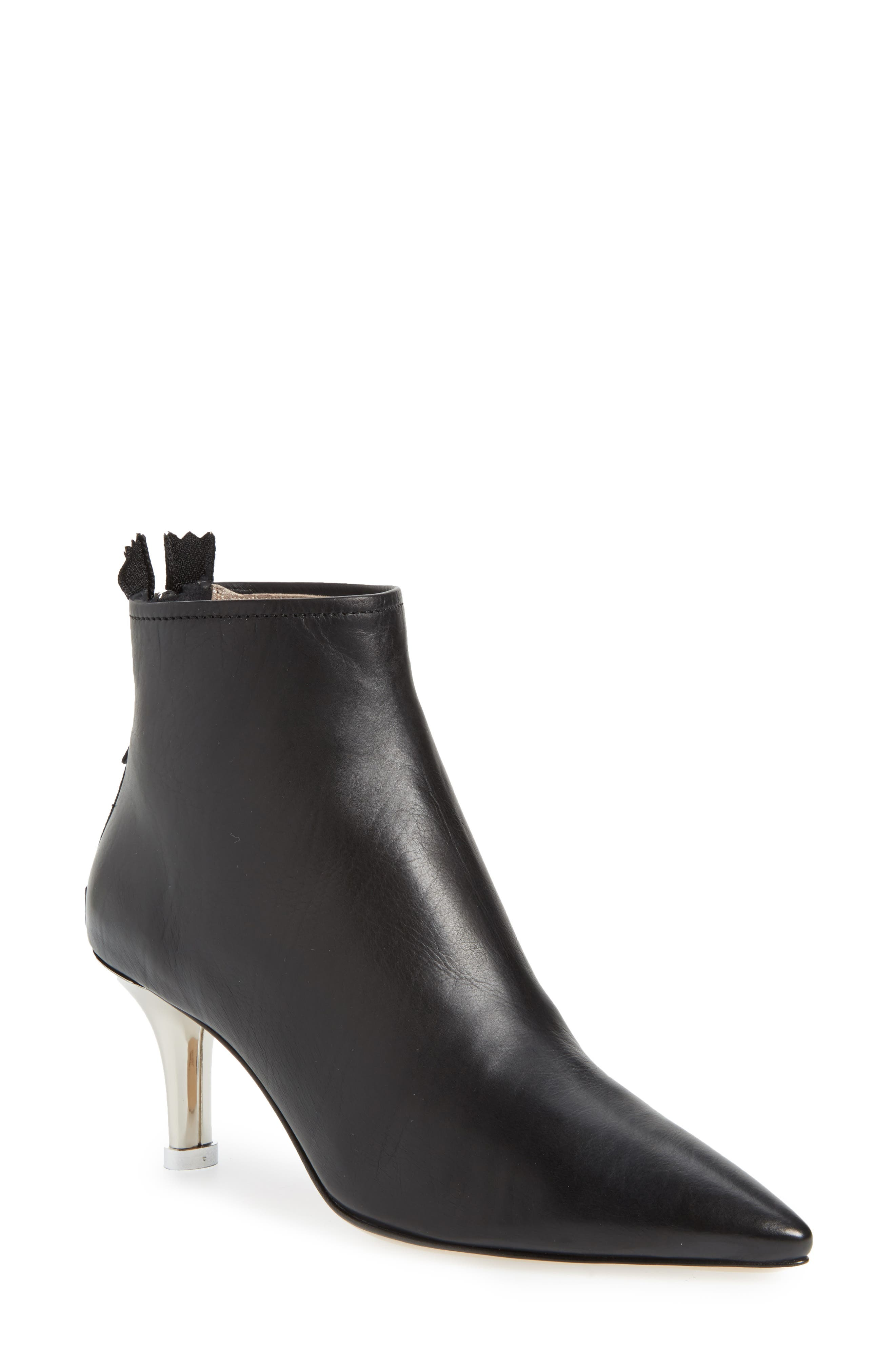 Pointy Toe Bootie,                         Main,                         color, Black Leather