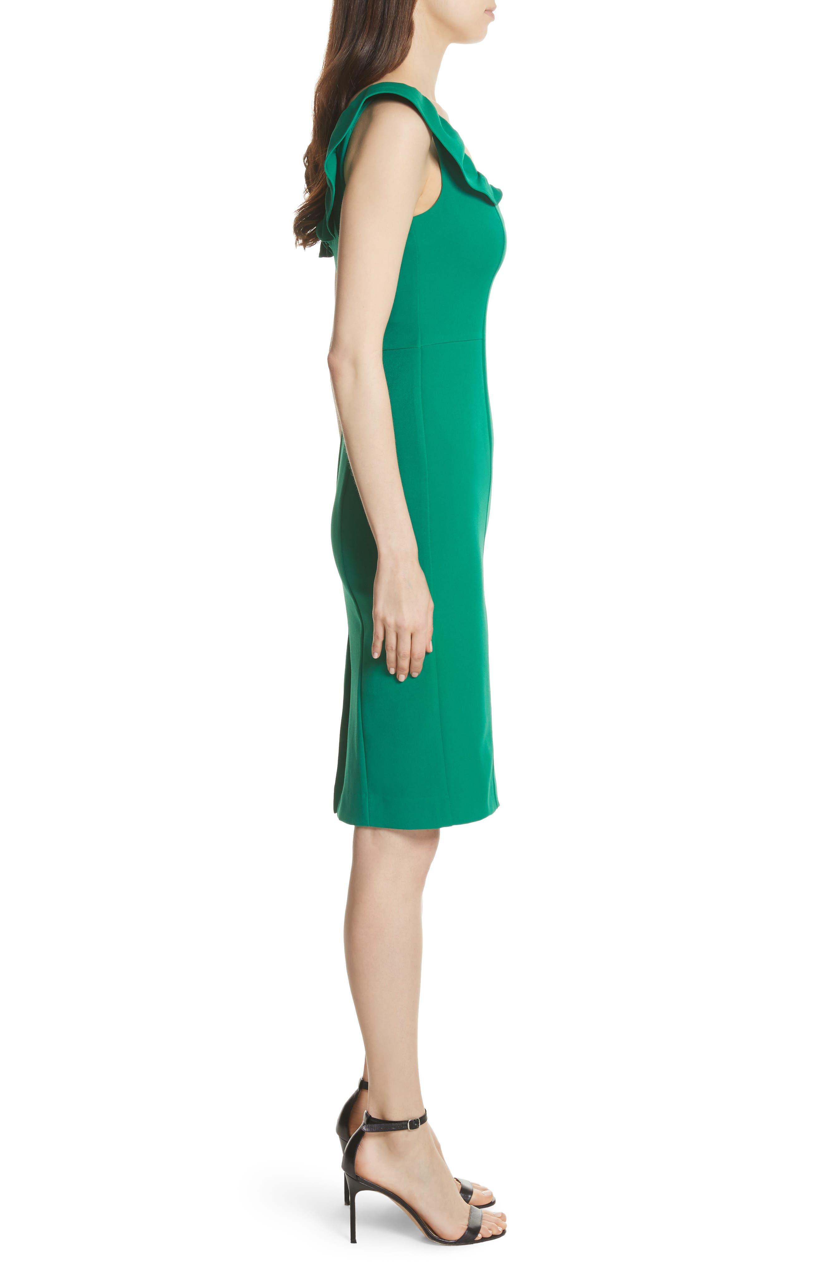 Savannah Ruffle Stretch Crepe Minidress,                             Alternate thumbnail 3, color,                             Emerald