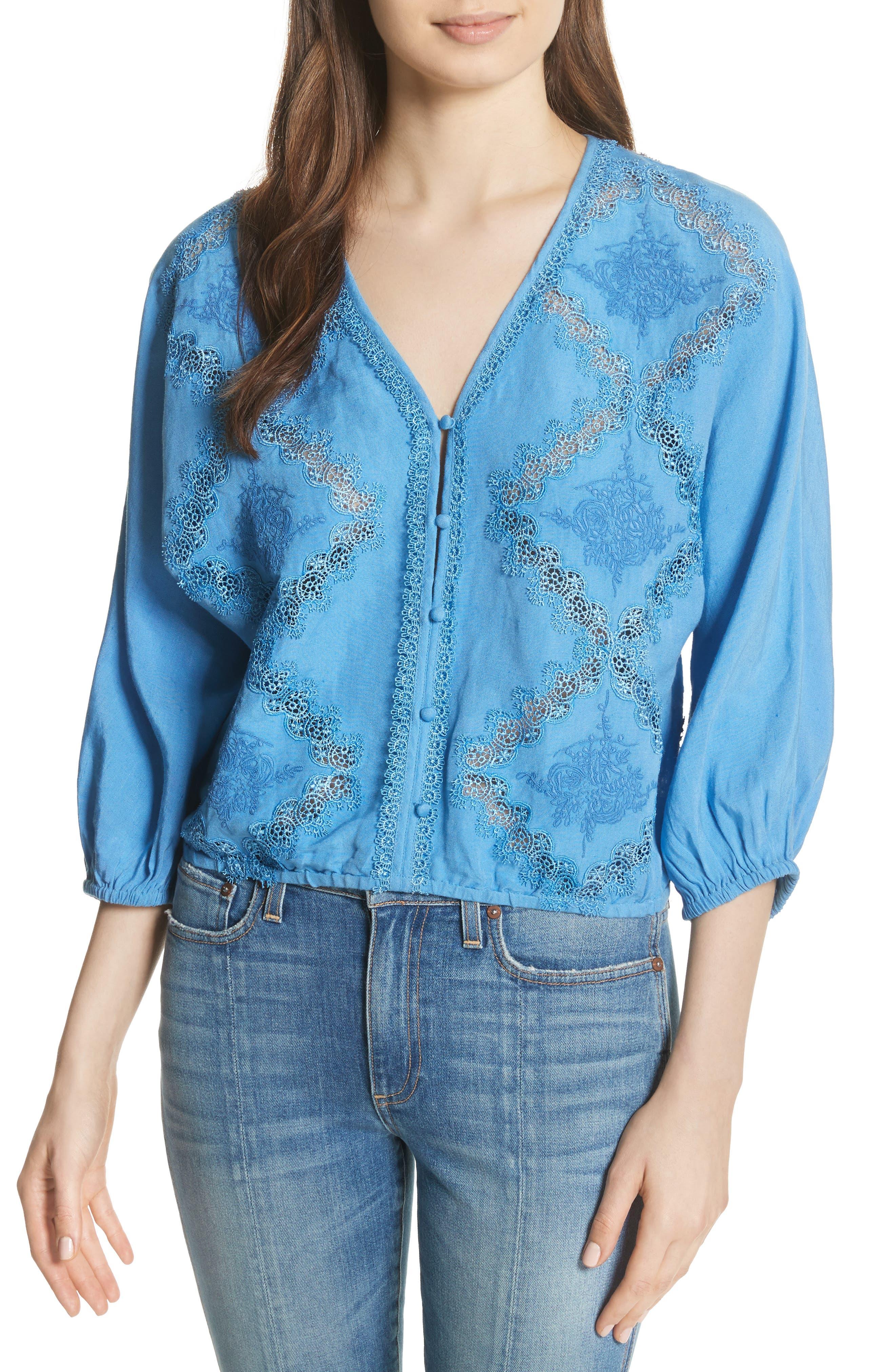 Main Image - Alice + Olivia Hilma Embroidered Blouson Sleeve Blouse