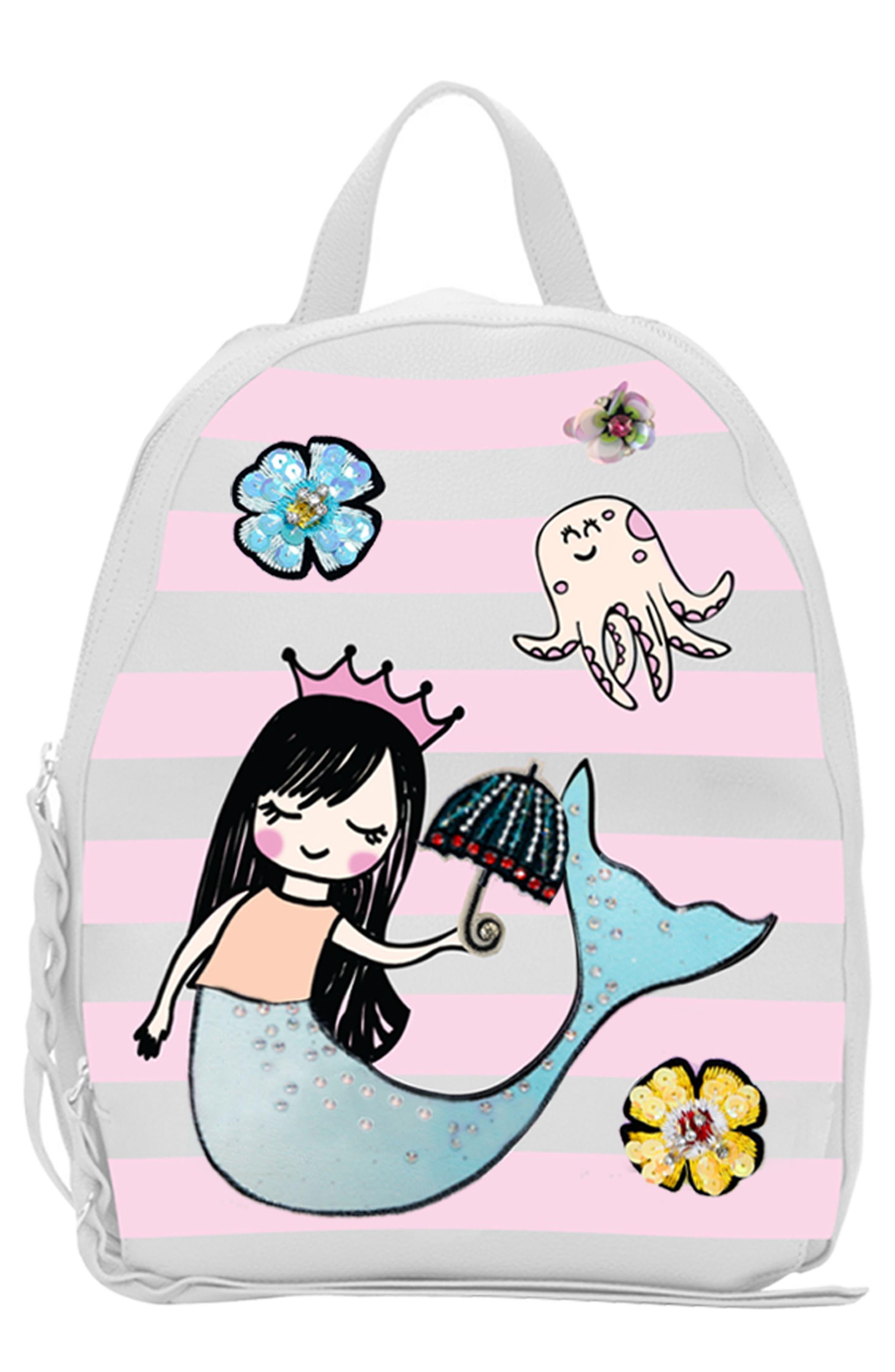 Embellished Mermaid Backpack,                             Main thumbnail 1, color,                             White