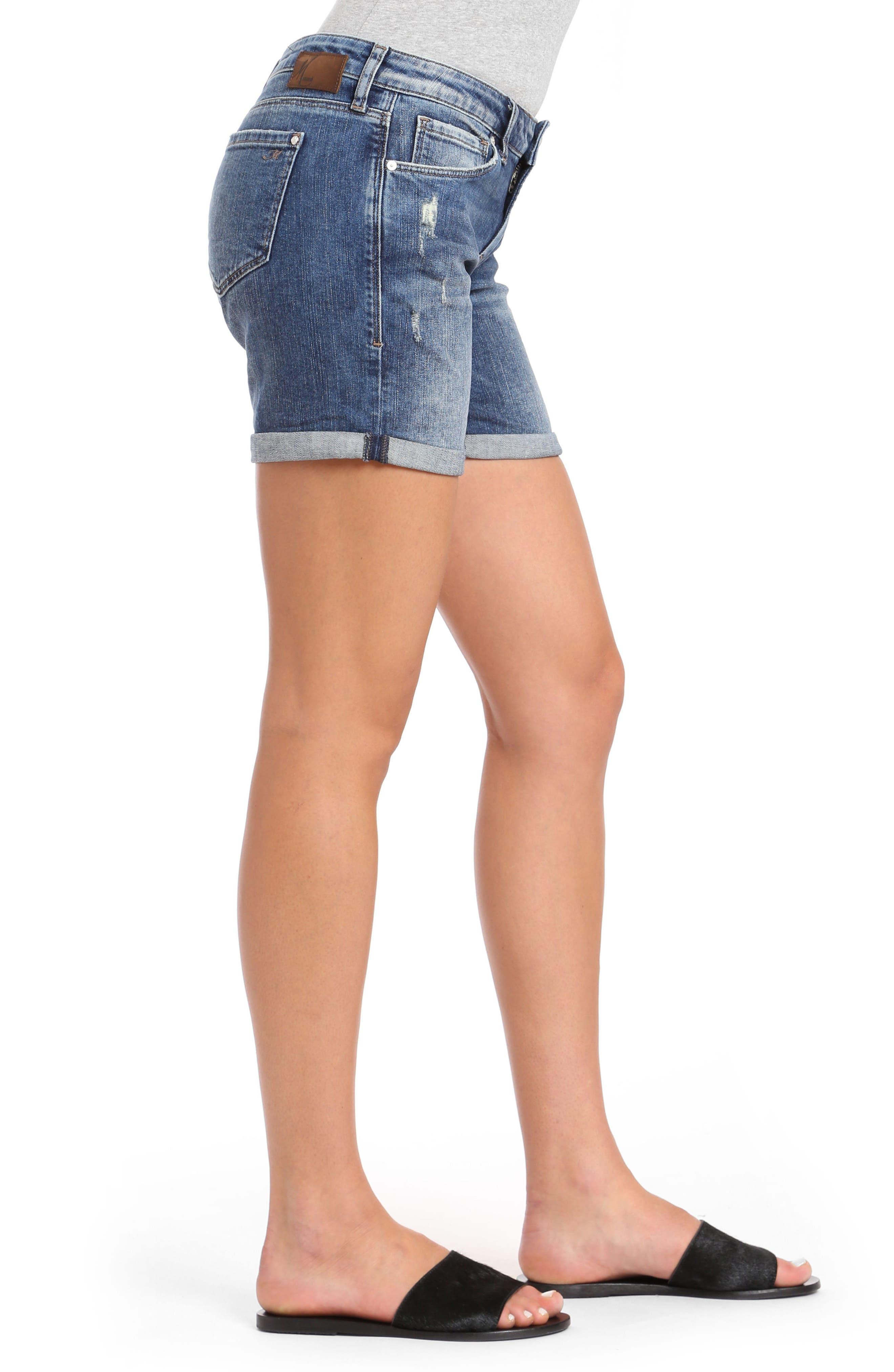 Pixie Denim Shorts,                             Alternate thumbnail 3, color,                             Dark Vintage