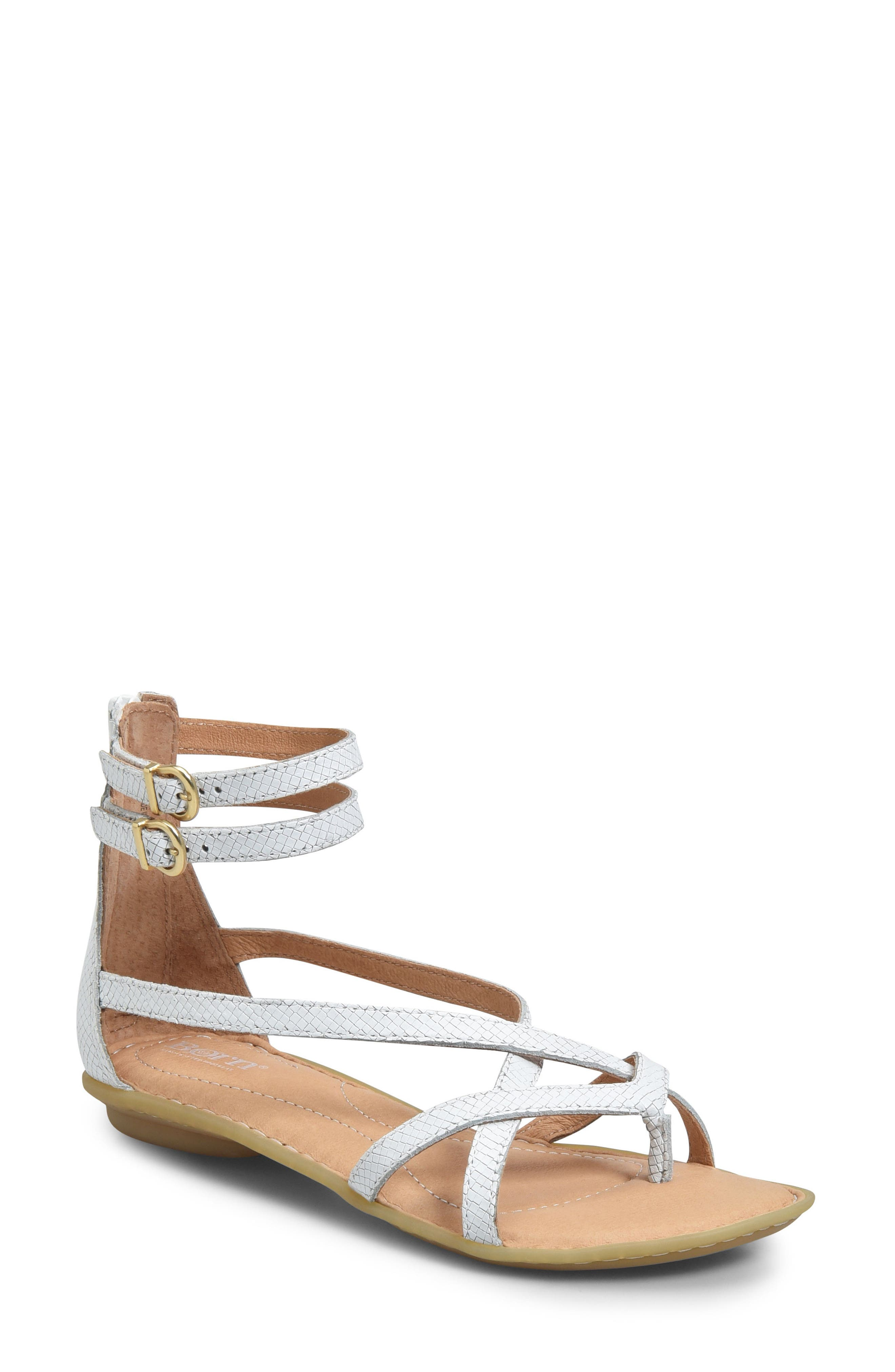 Mai Gladiator Sandal,                         Main,                         color, White Leather