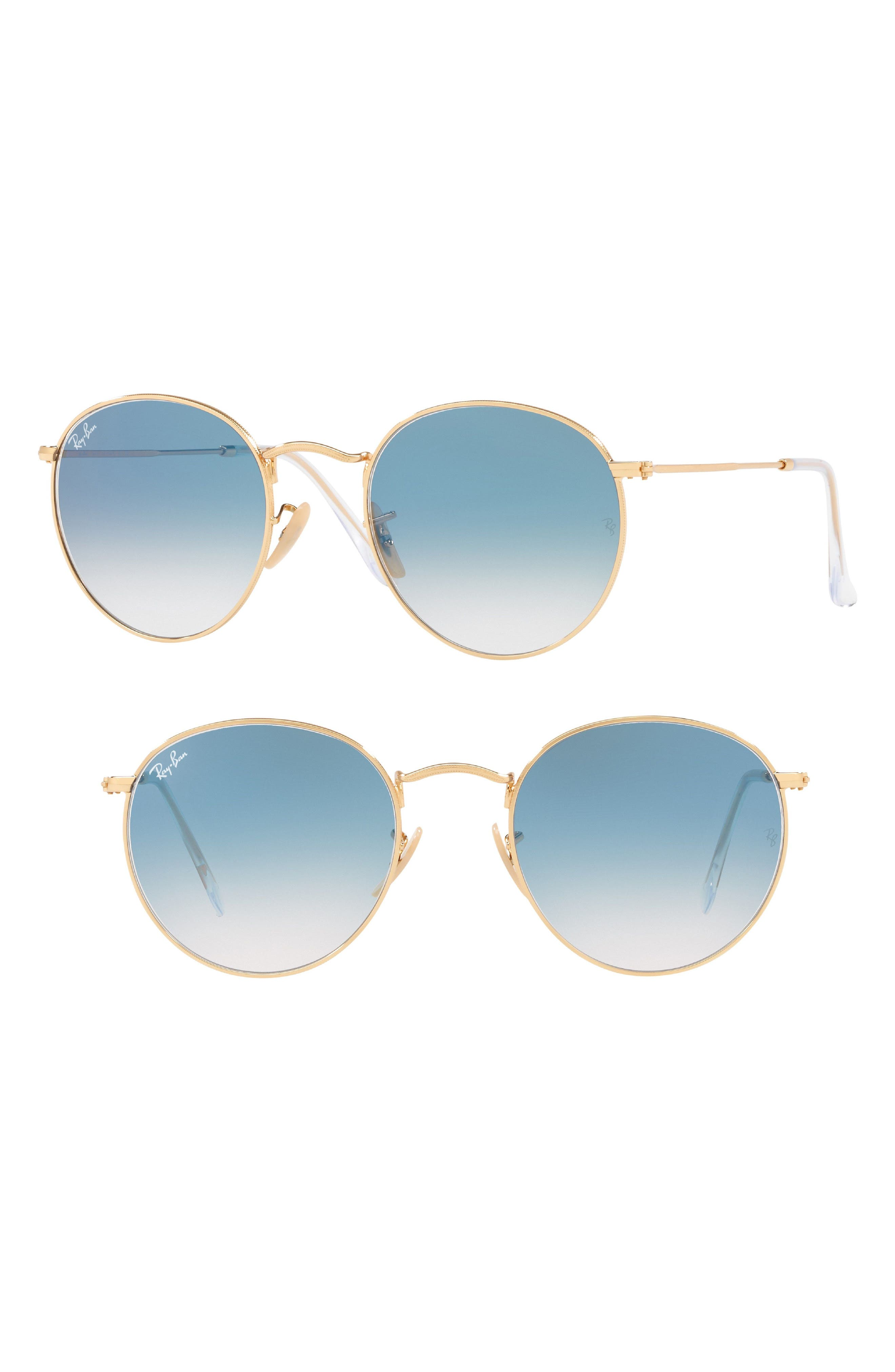 53mm Round Retro Sunglasses,                             Main thumbnail 1, color,                             Gold