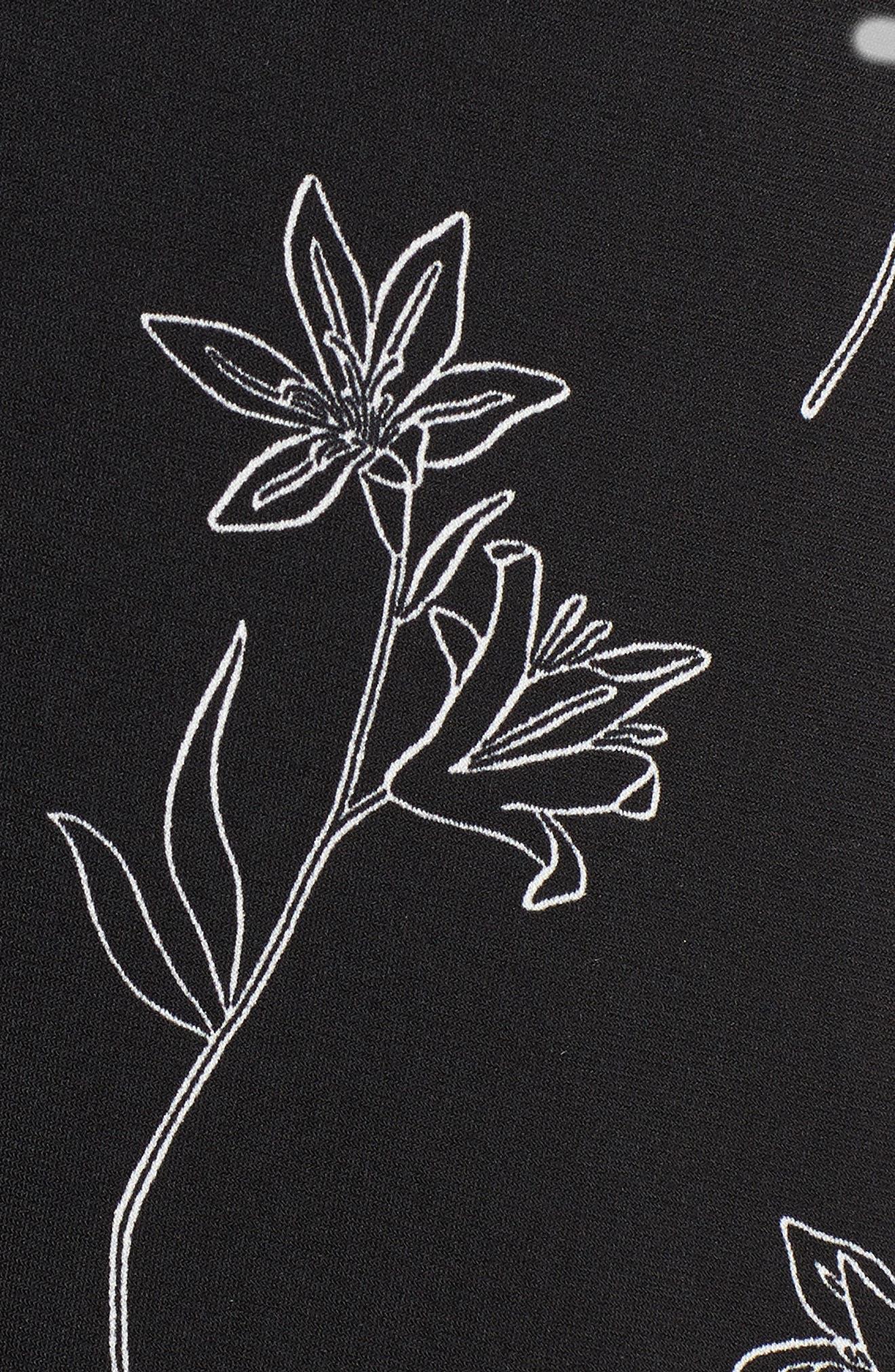 Floral Outlines Knot Front Maxi Dress,                             Alternate thumbnail 5, color,                             060-Rich Black