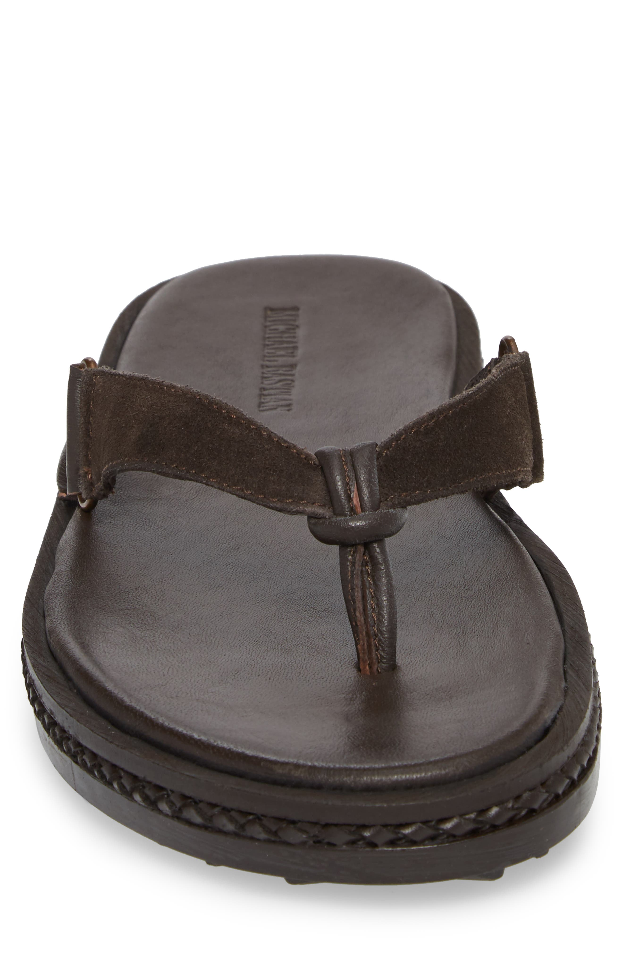 Michael Bastain Flip Flop,                             Alternate thumbnail 4, color,                             Brown Leather