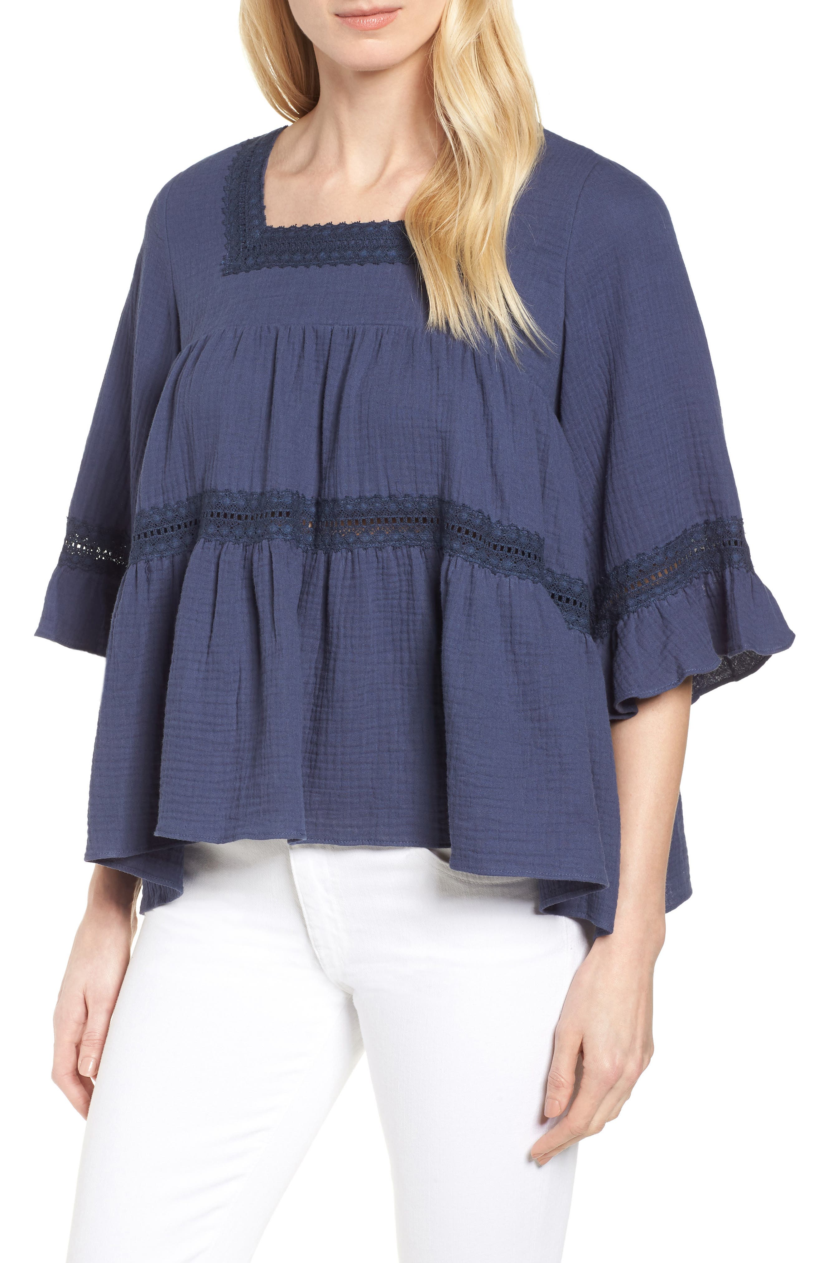 Lace Trim Blouse,                         Main,                         color, Navy Indigo