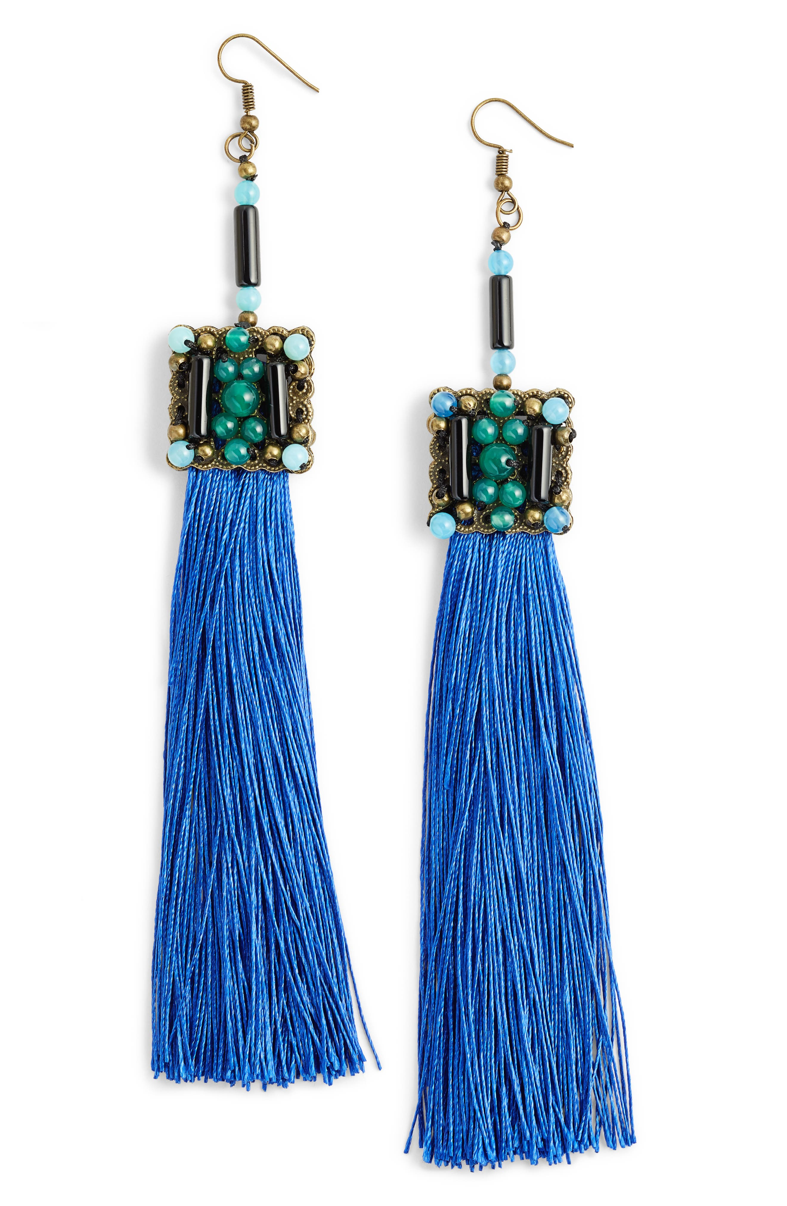 Blue Lagoon Jade Tassel Earrings,                             Main thumbnail 1, color,                             Blue