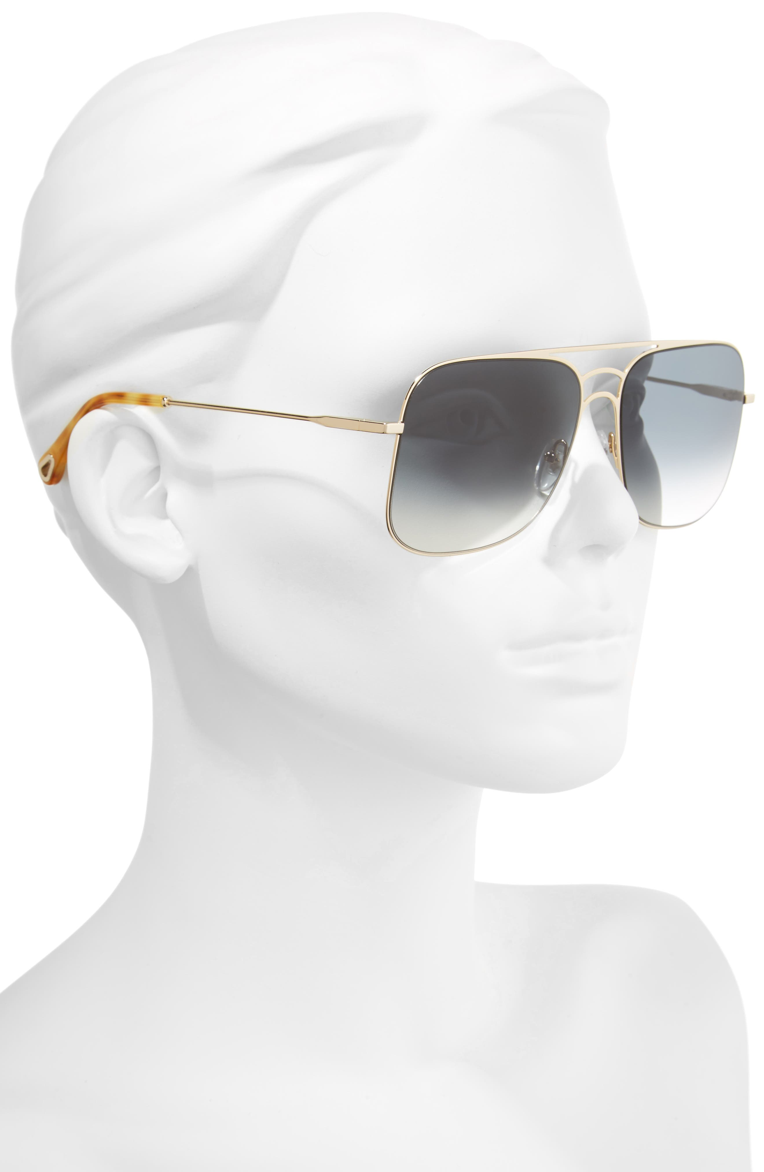 58mm Metal Navigator Sunglasses,                             Alternate thumbnail 2, color,                             Gold/ Petrol