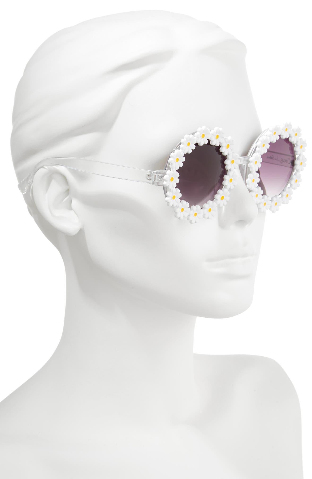 45mm Round Sunglasses,                             Alternate thumbnail 2, color,                             White