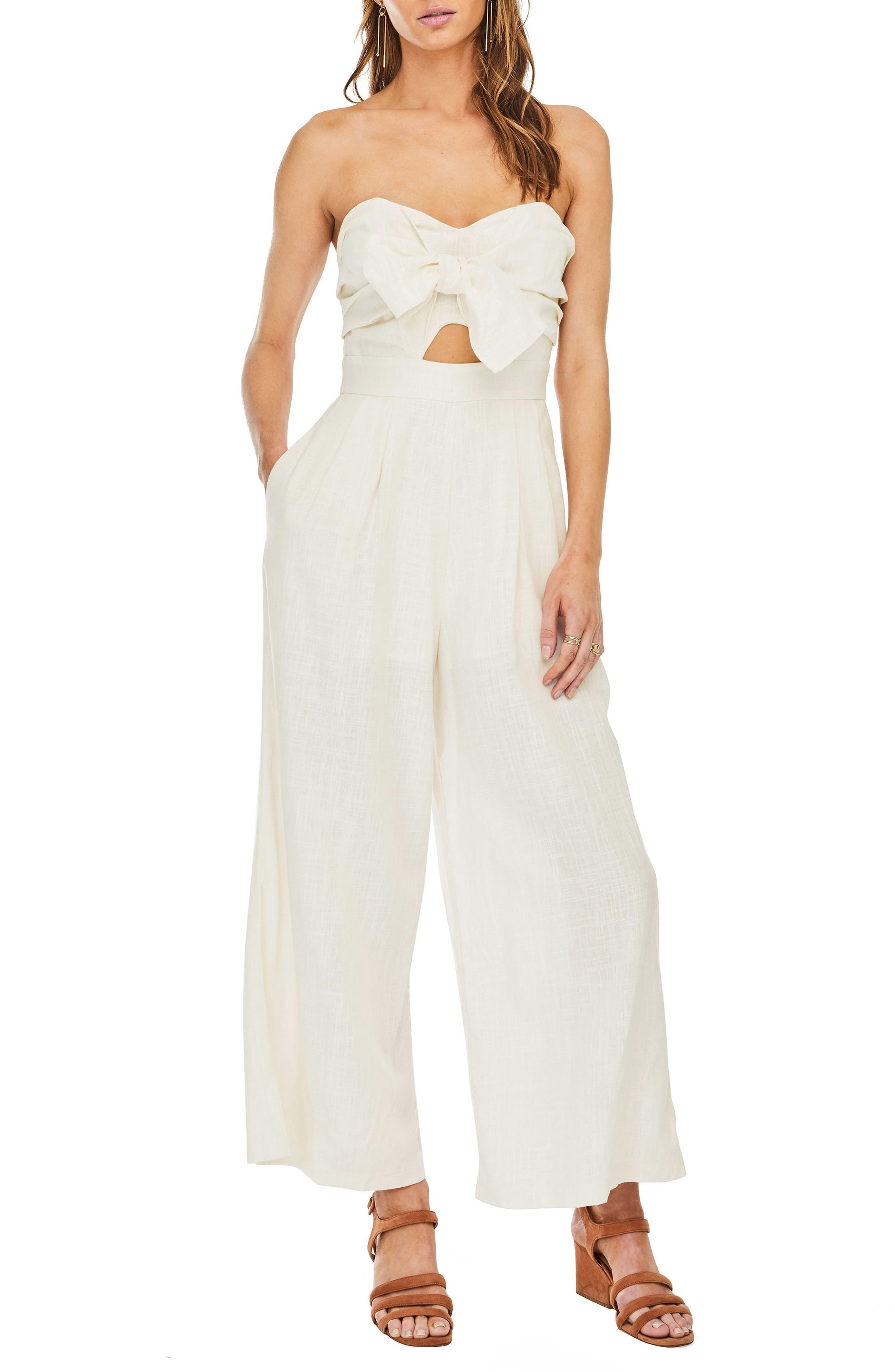 Mara Strapless Jumpsuit,                         Main,                         color, Natural