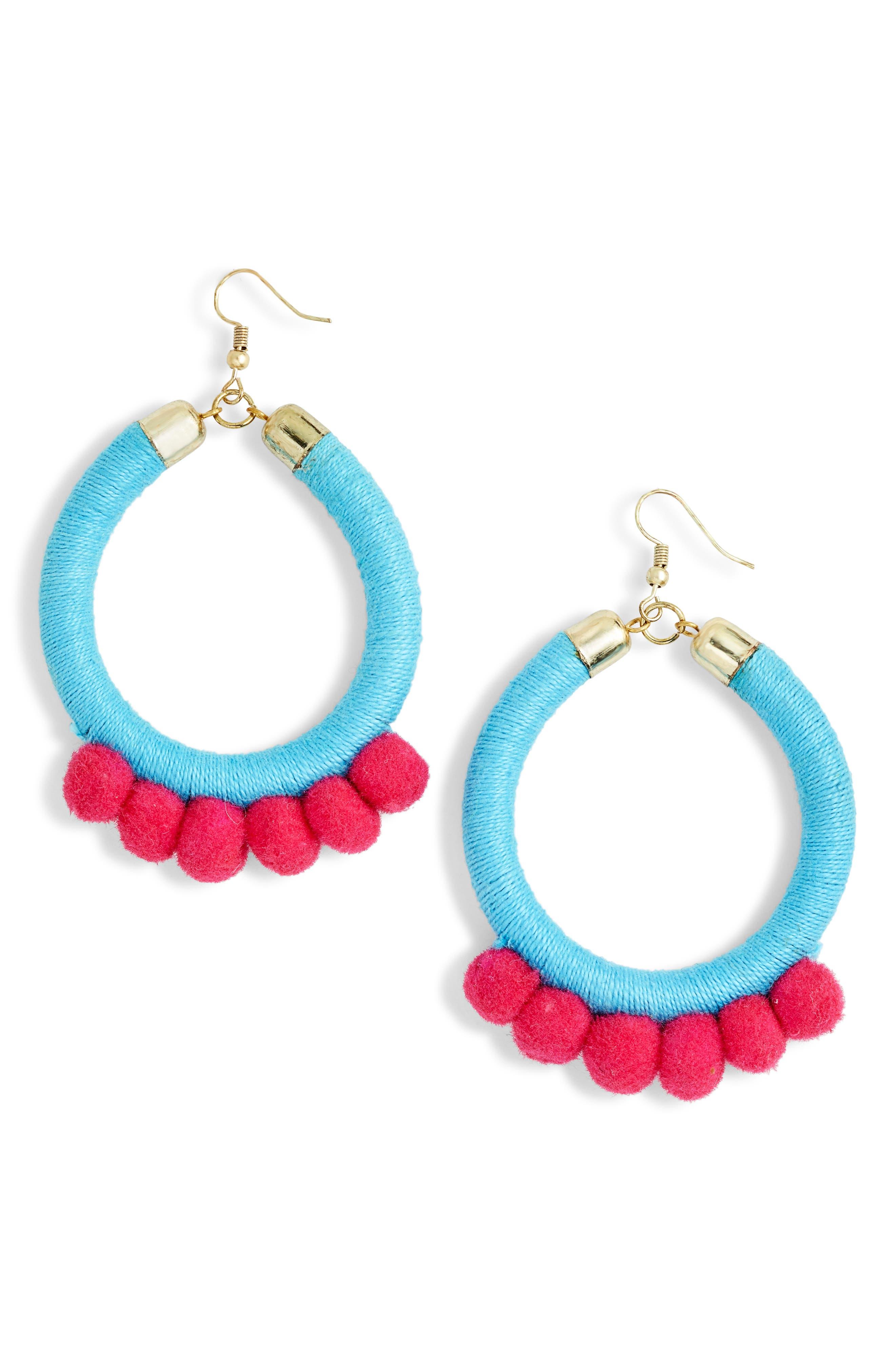 Lauren Pom Hoop Earrings,                             Main thumbnail 1, color,                             Turquoise/ Fuschia
