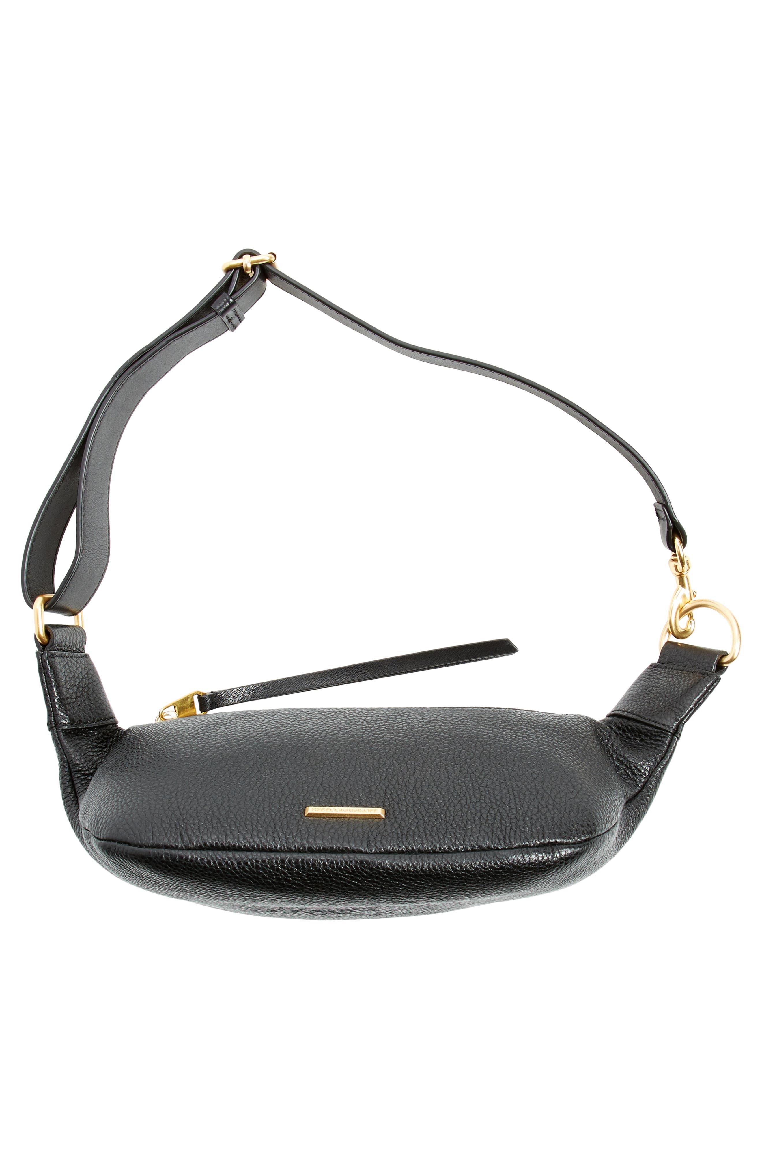 Bree Leather Belt Bag,                             Alternate thumbnail 7, color,                             Black