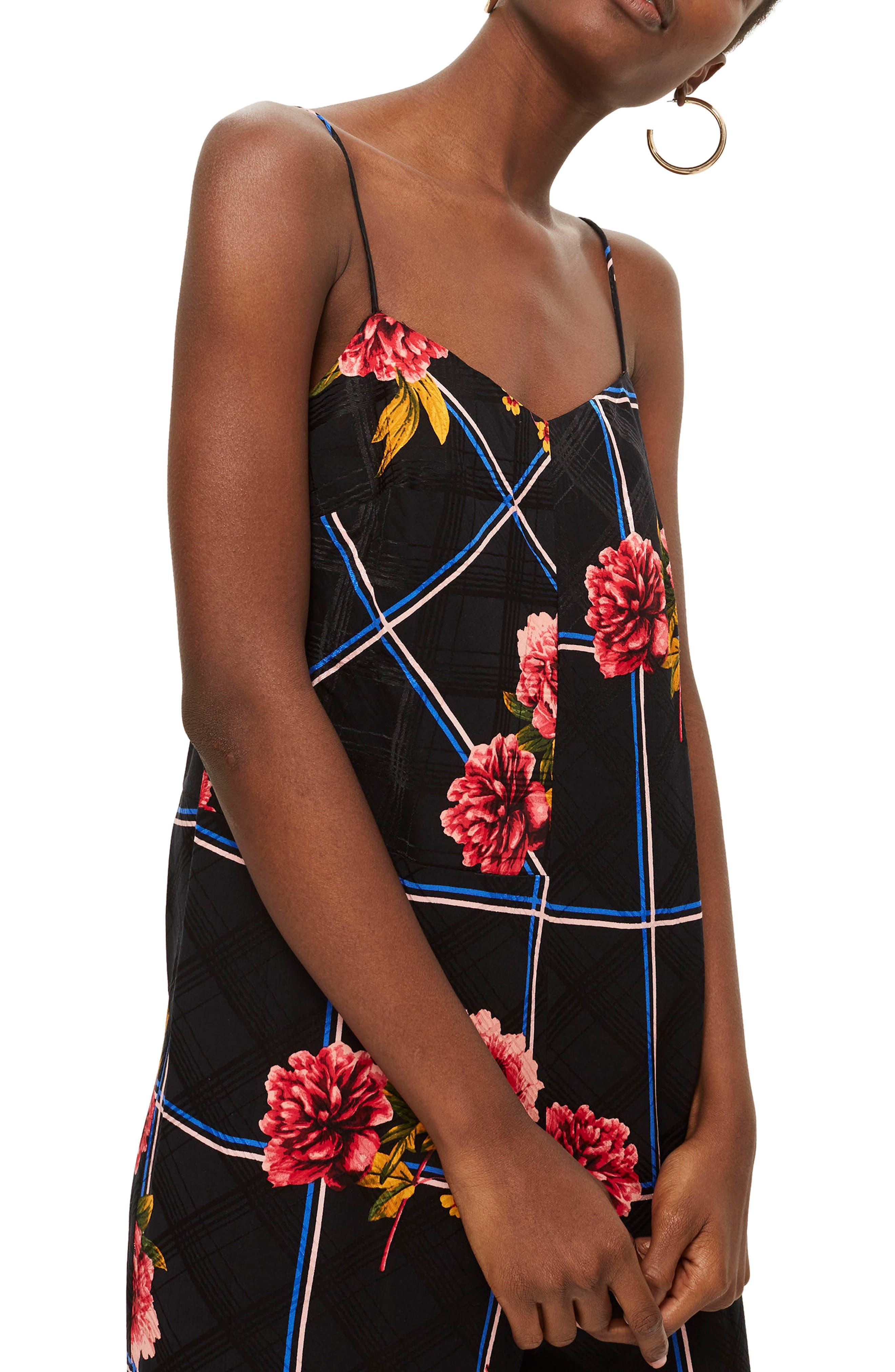 Check Floral Jumpsuit,                             Alternate thumbnail 3, color,                             Black Multi