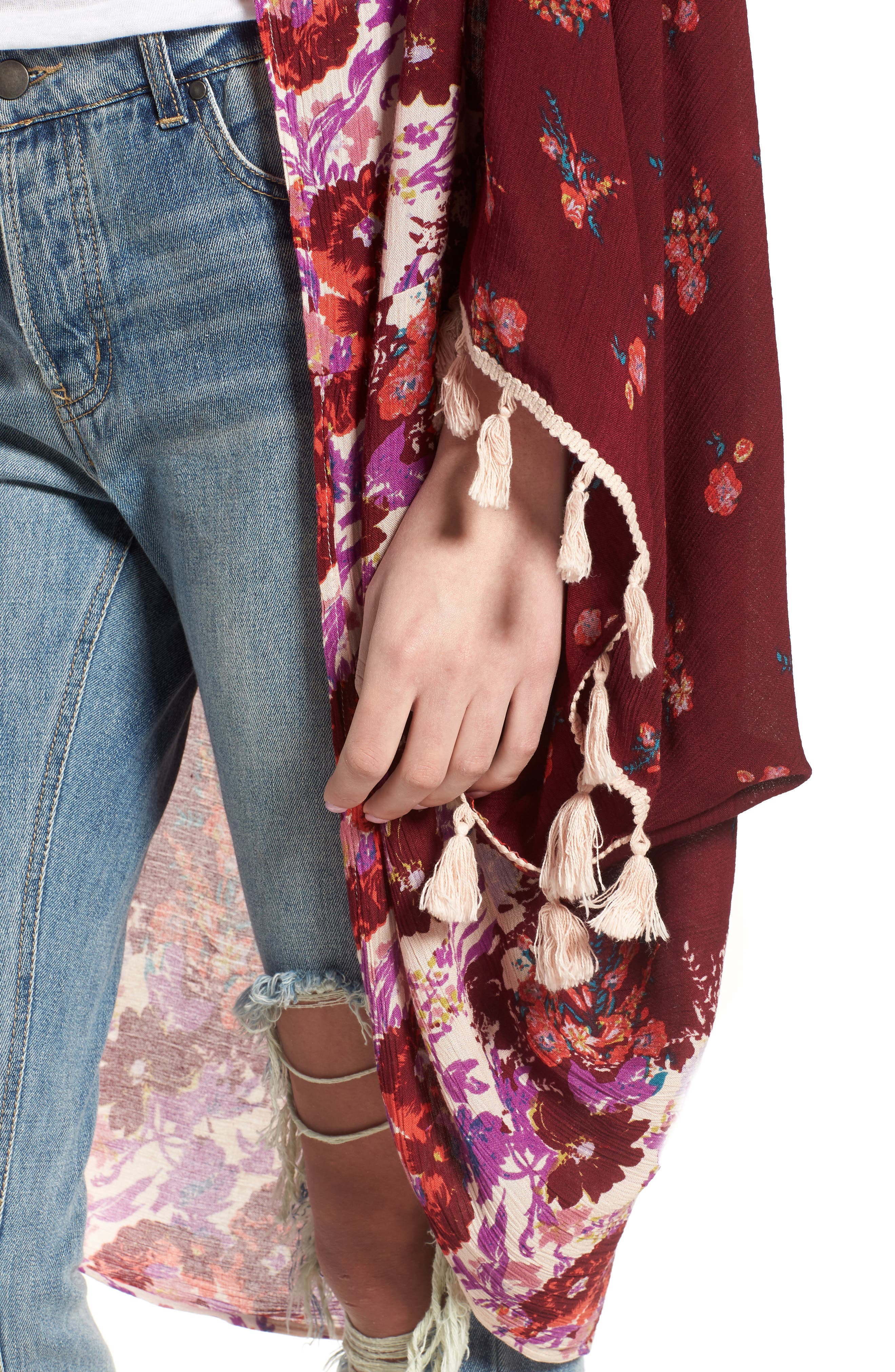 Bali Wrapped In Blooms Shawl,                             Alternate thumbnail 4, color,                             Red Combo