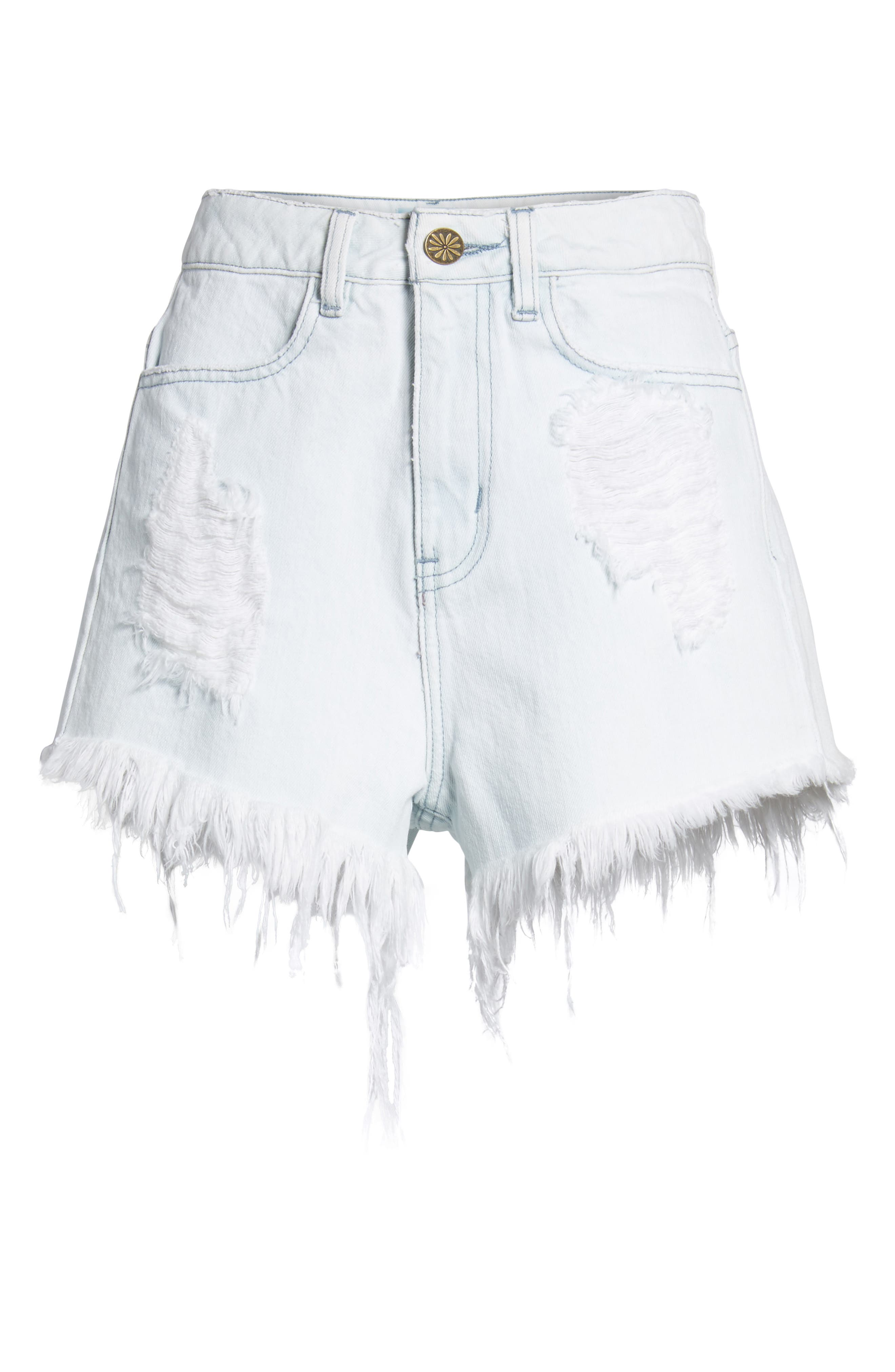 Wyoming High Waist Cutoff Denim Shorts,                             Alternate thumbnail 6, color,                             Whitewater