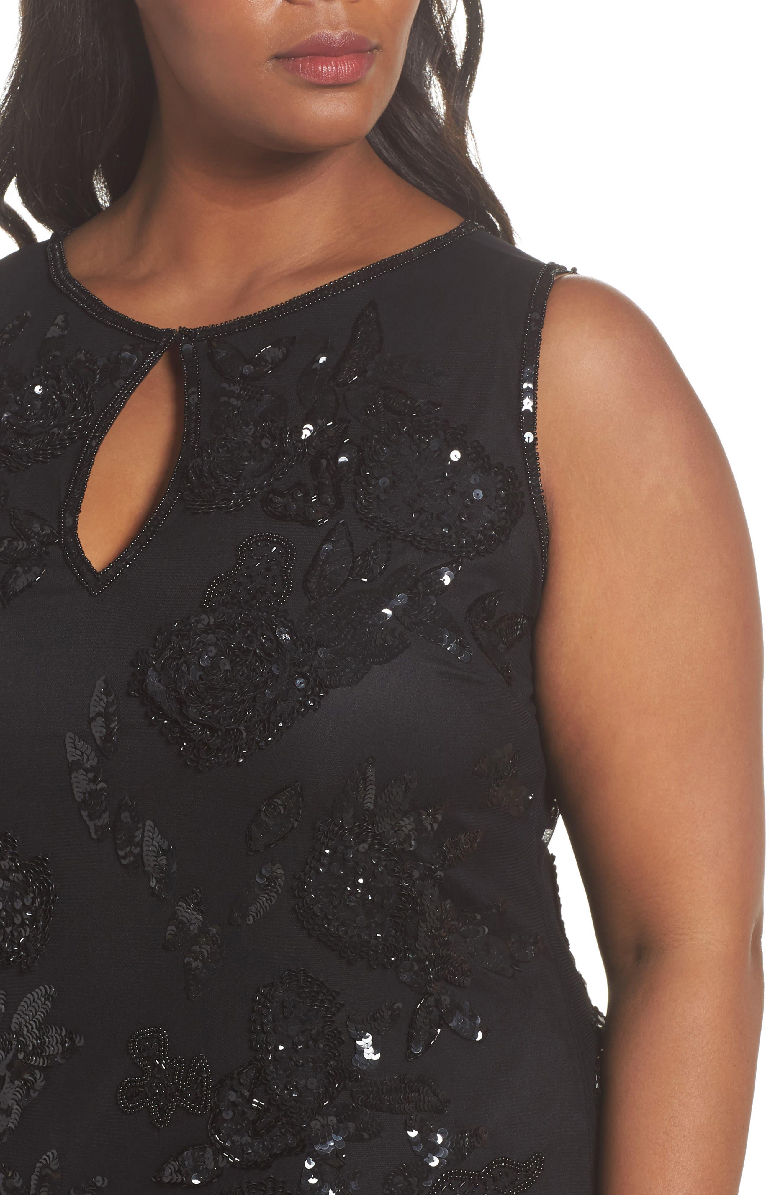 Embellished Keyhole Sheath Dress,                             Alternate thumbnail 4, color,                             Black