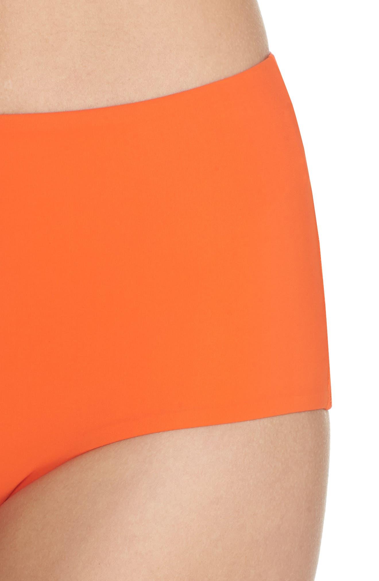 Marina High Waist Bikini Bottoms,                             Alternate thumbnail 4, color,                             Sweet Tangerine