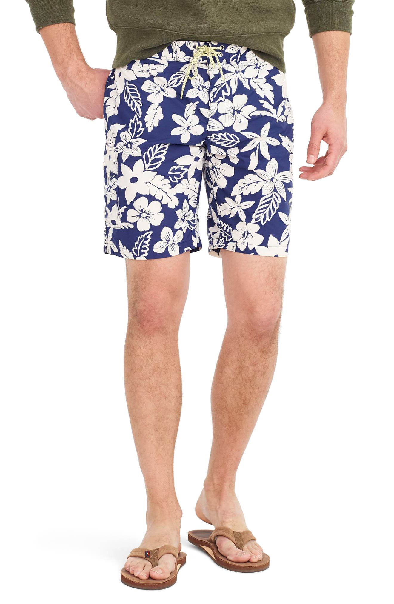 Main Image - J.Crew Floral Swim Trunks