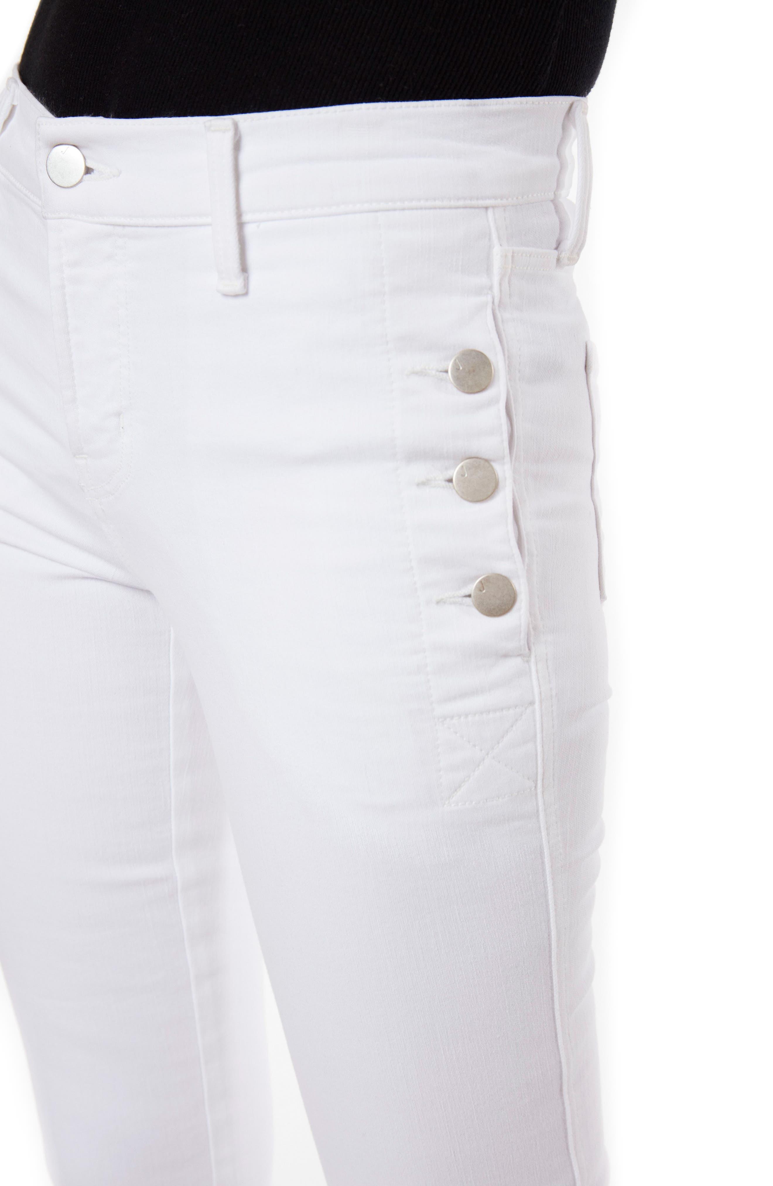 Zion Crop Flare Jeans,                             Alternate thumbnail 4, color,                             Blanc