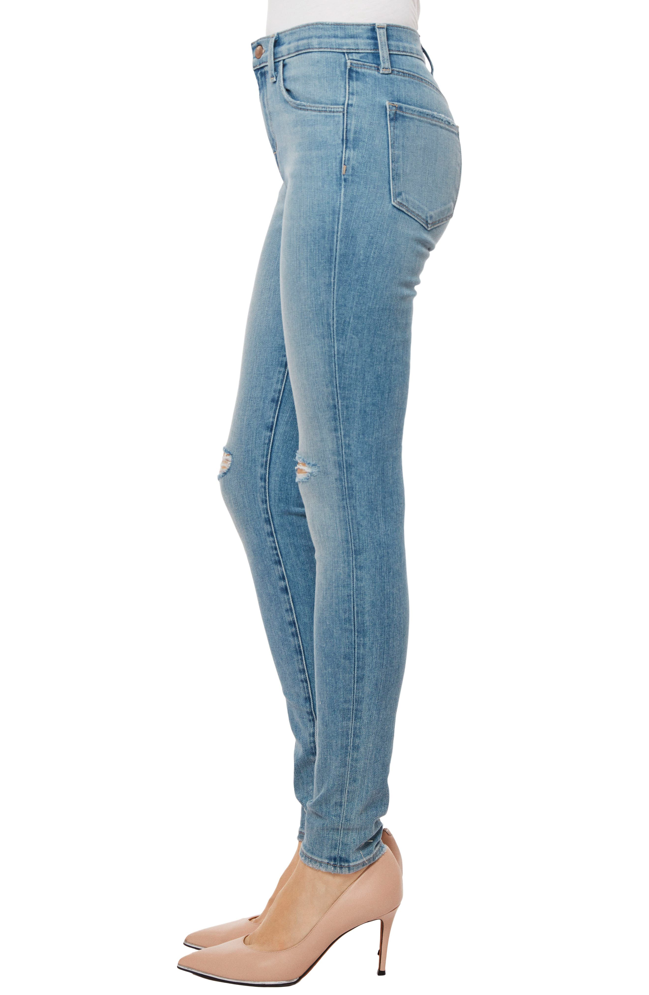 Maria High Waist Skinny Jeans,                             Alternate thumbnail 3, color,                             Surge Destruct