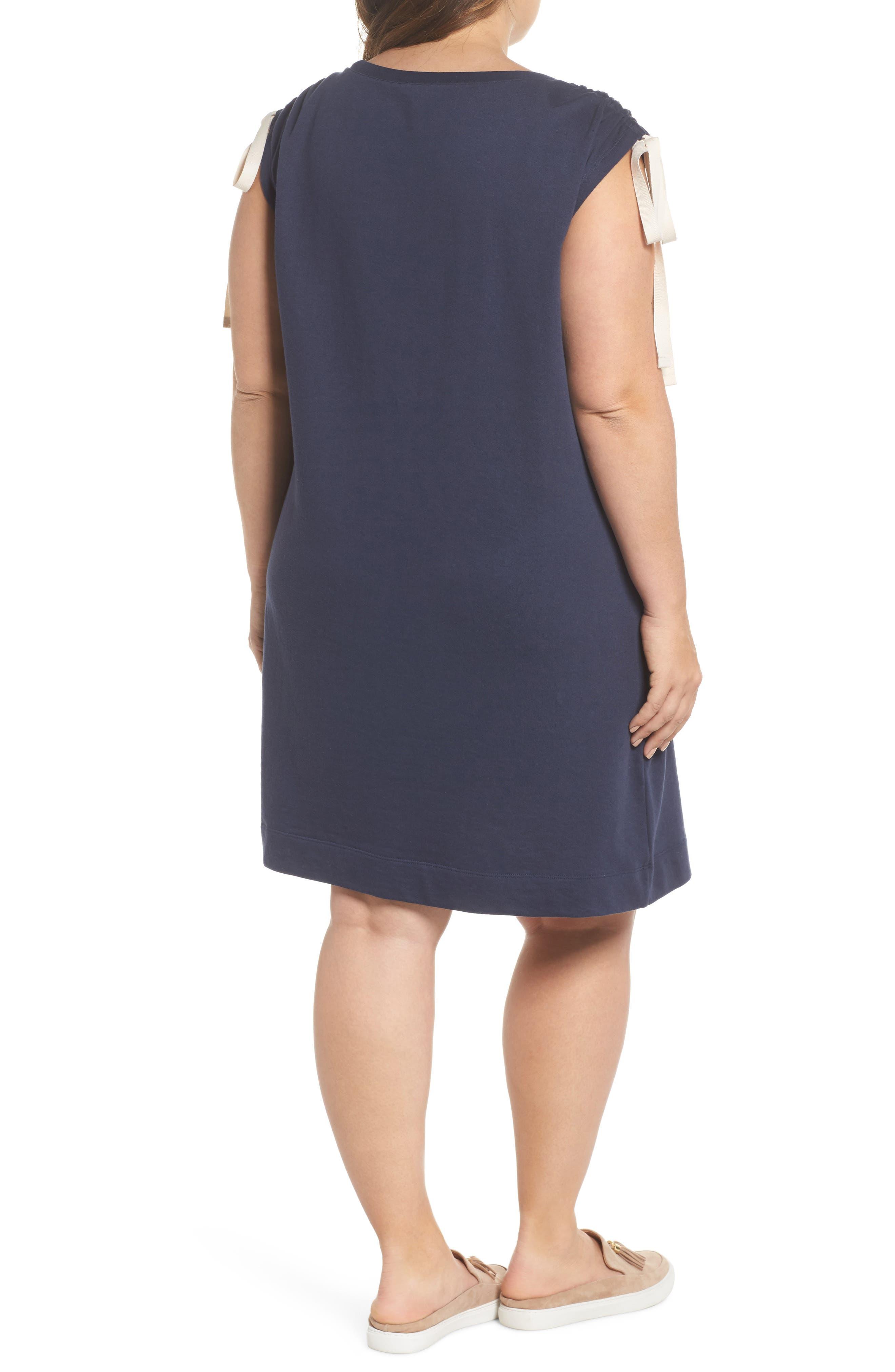 Ruched Shoulder Shift Dress,                             Alternate thumbnail 2, color,                             Navy Indigo