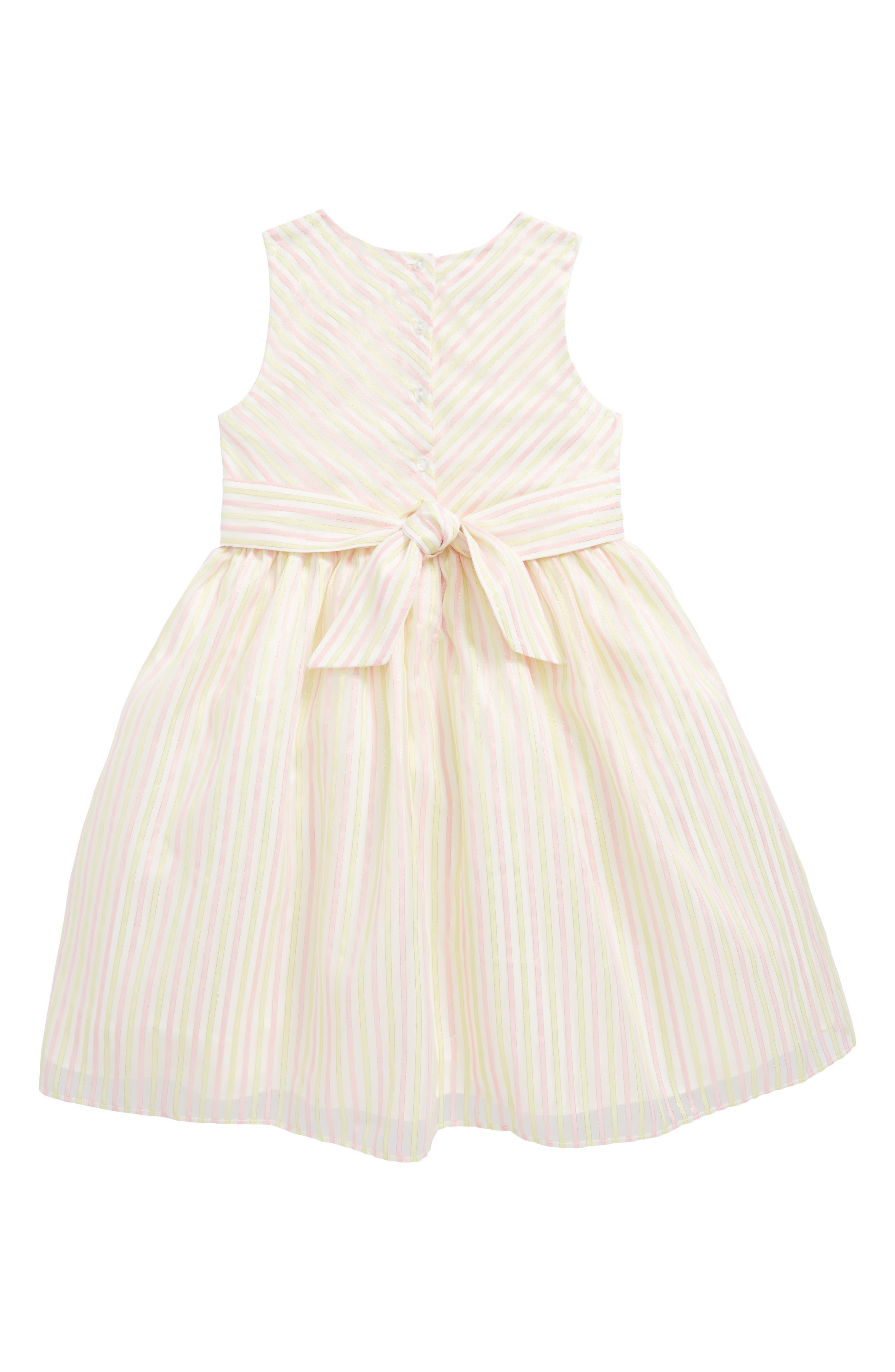 Metallic Stripe Dress,                             Alternate thumbnail 2, color,                             Pink Yellow