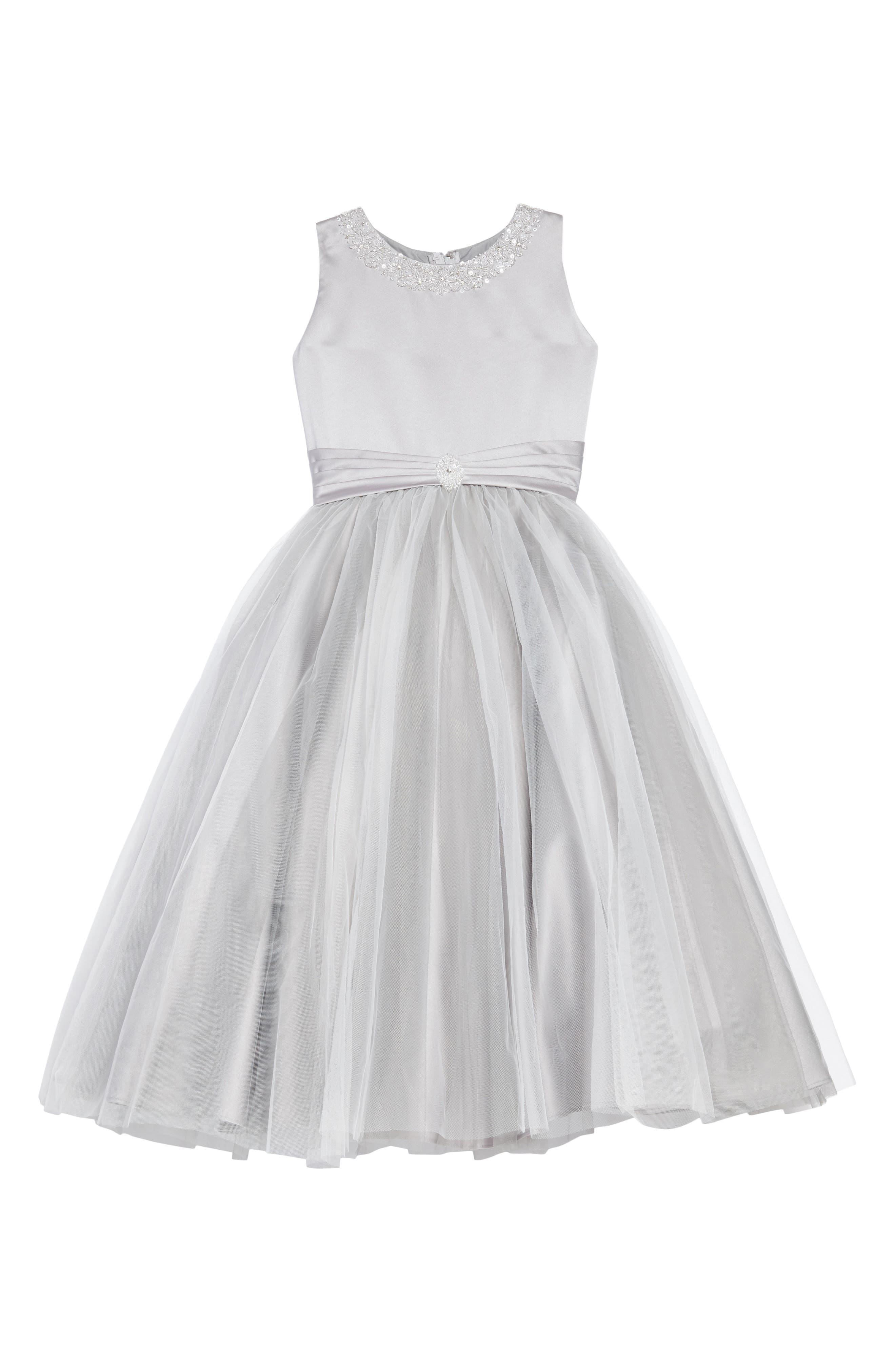 Beaded Satin & Tulle First Communion Dress,                         Main,                         color, Platinum