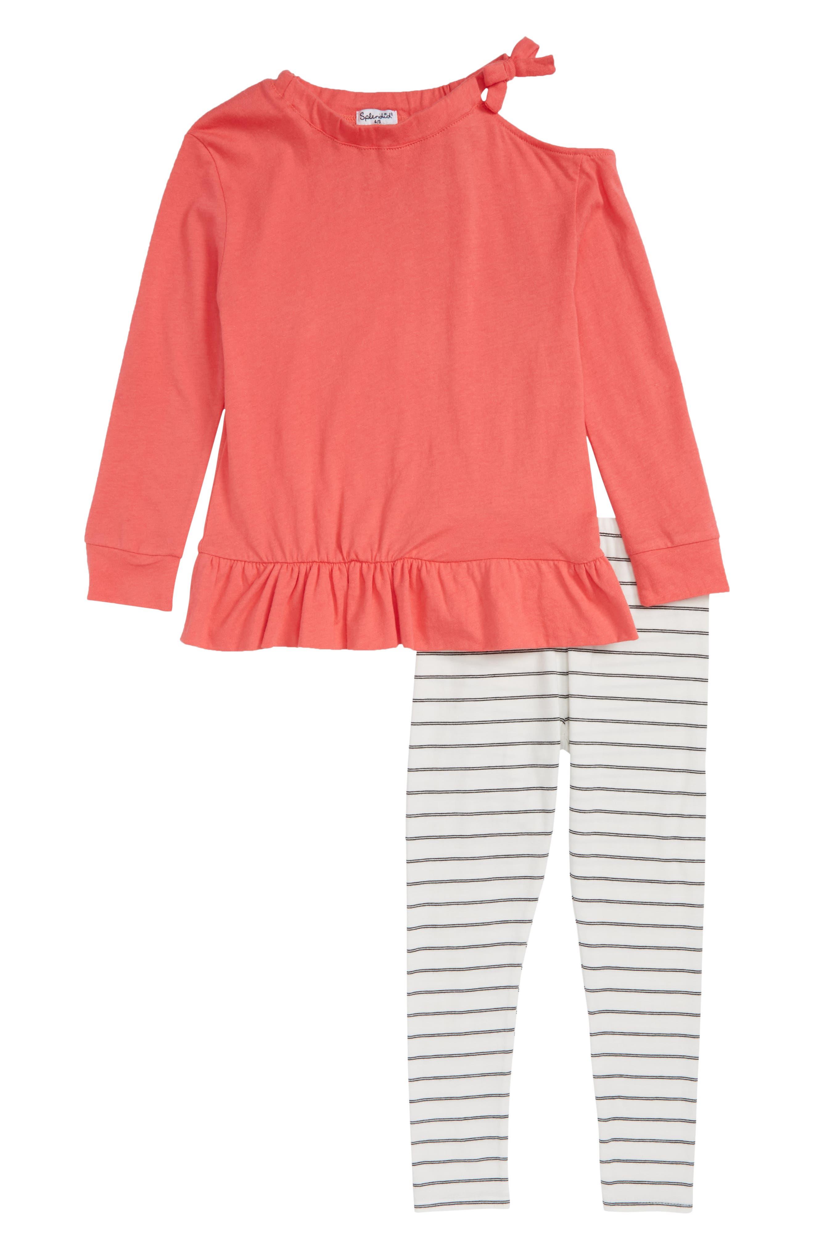 Cold Shoulder Top & Leggings Set,                         Main,                         color, Coral Fan