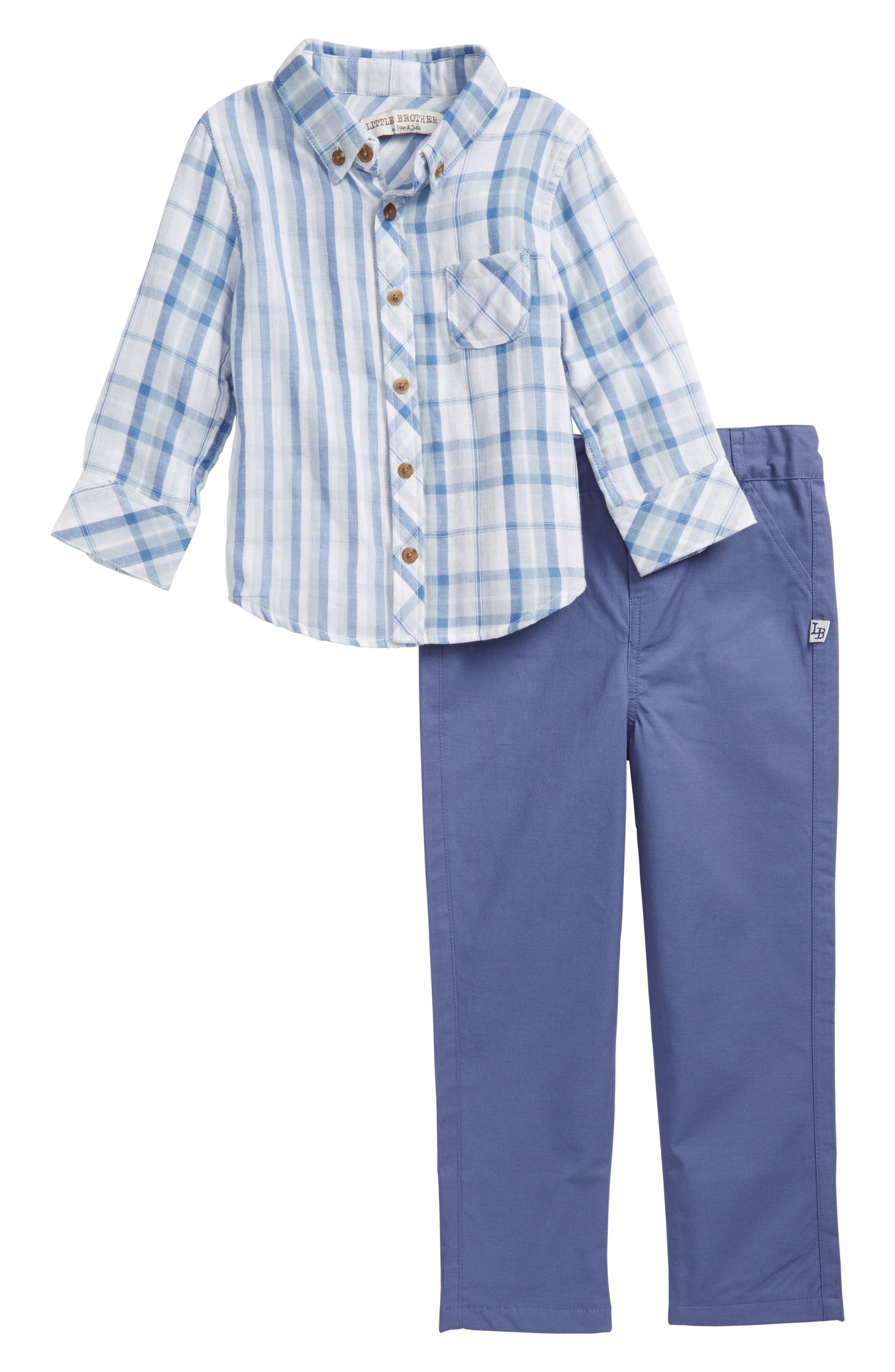 Little Brother by Pippa & Julie Mixed Plaid Top & Pants Set (Toddler Boys)
