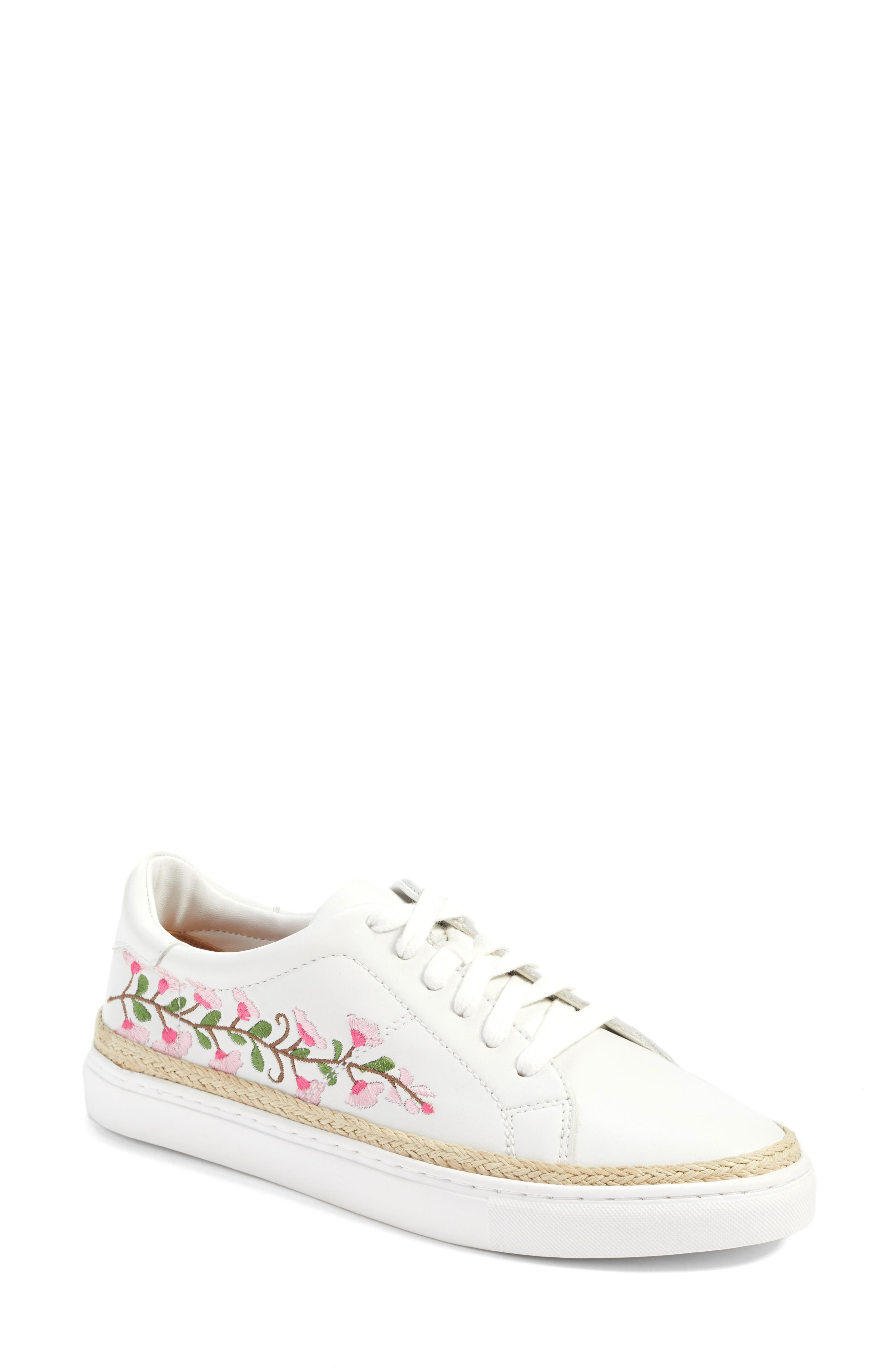 Perry Lea Embroidered Sneaker,                             Main thumbnail 1, color,                             White Leather