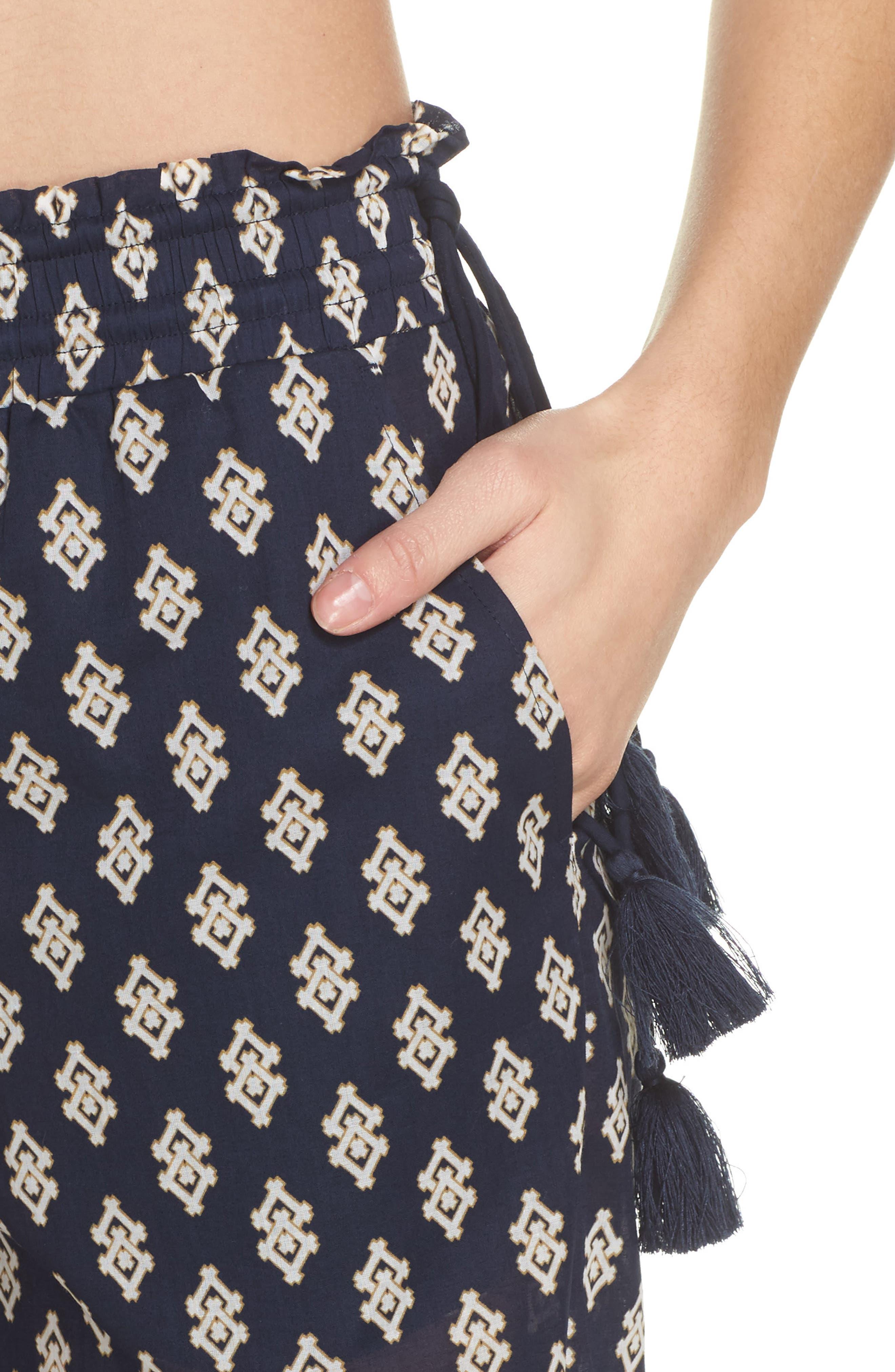Double Diamond Cover-Up Pants,                             Alternate thumbnail 4, color,                             Tory Navy Double Diamonds