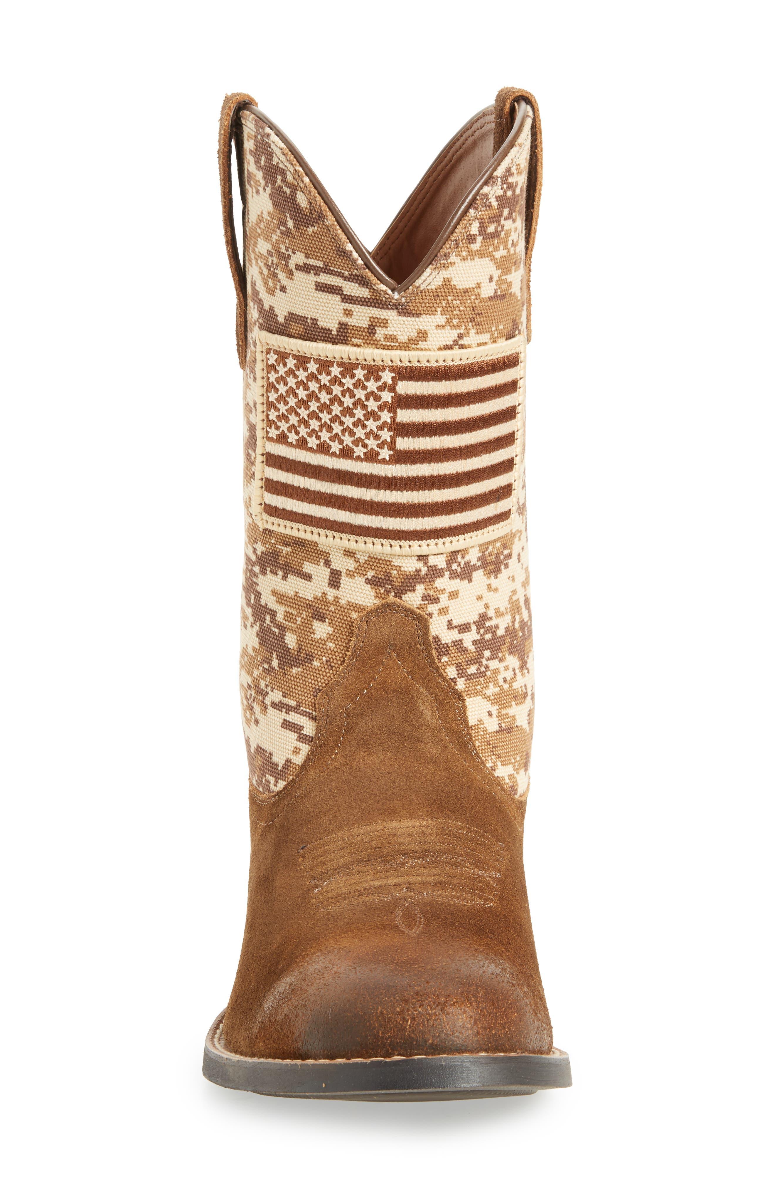 Sport Patriot Cowboy Boot,                             Alternate thumbnail 4, color,                             Antique Mocha/ Sand Leather