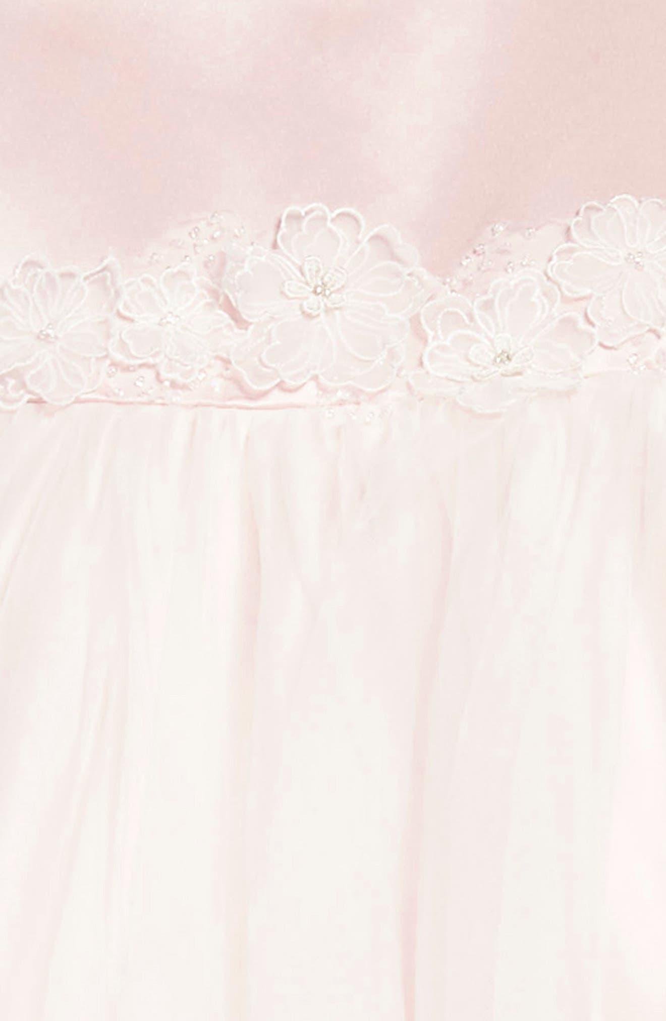 Satin & Tulle Dress,                             Alternate thumbnail 3, color,                             Petal/ Ivory