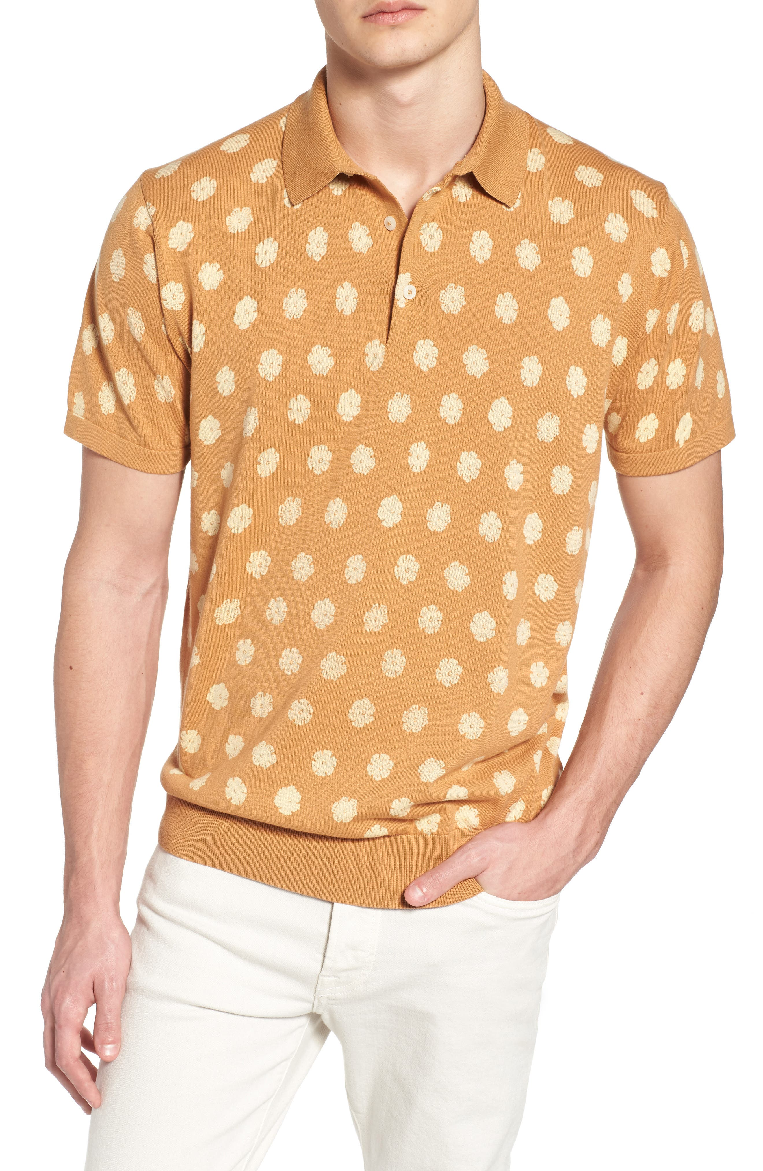 Superfine Hibiscus Slim Fit Polo,                         Main,                         color, Doe