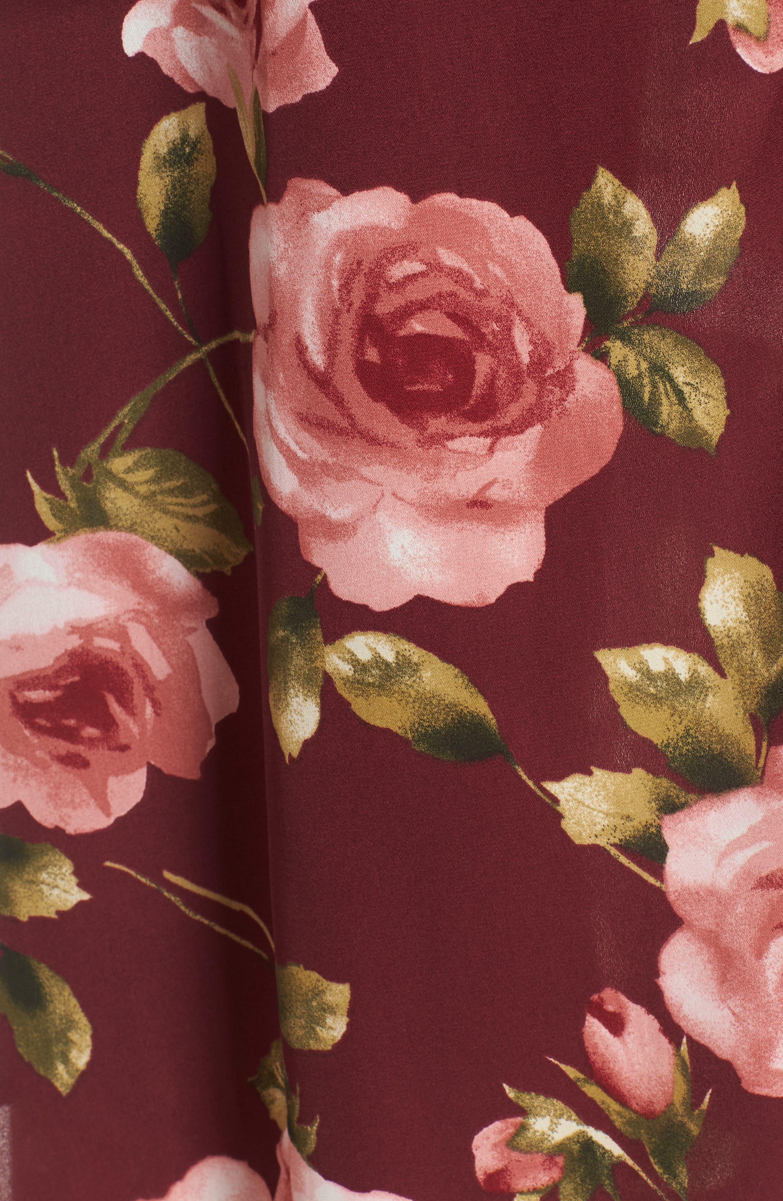 Floral Midi Romper,                             Alternate thumbnail 6, color,                             Burgundy Floral