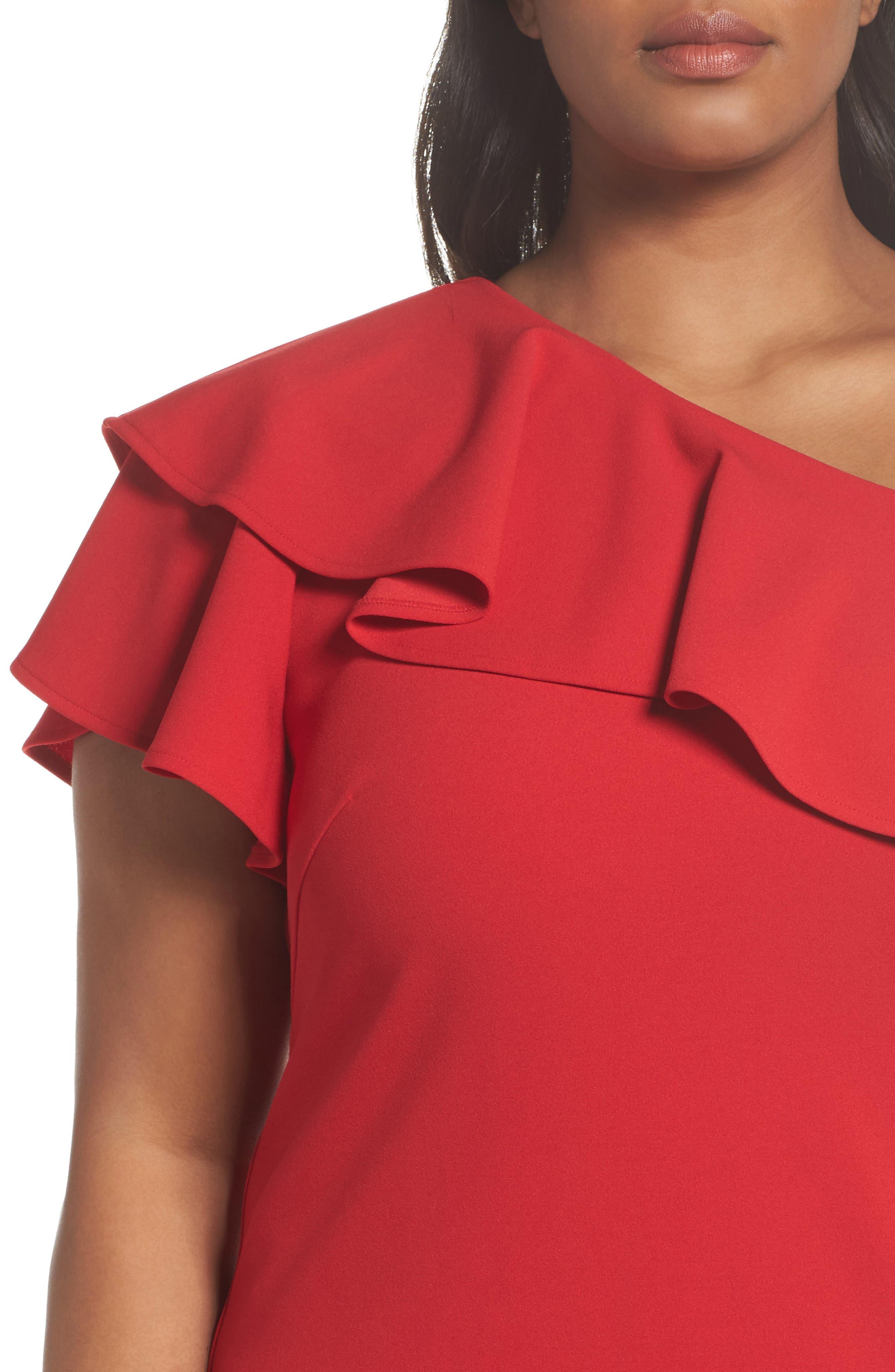 Ruffle One-Shoulder Scuba Body-Con Dress,                             Alternate thumbnail 4, color,                             Red