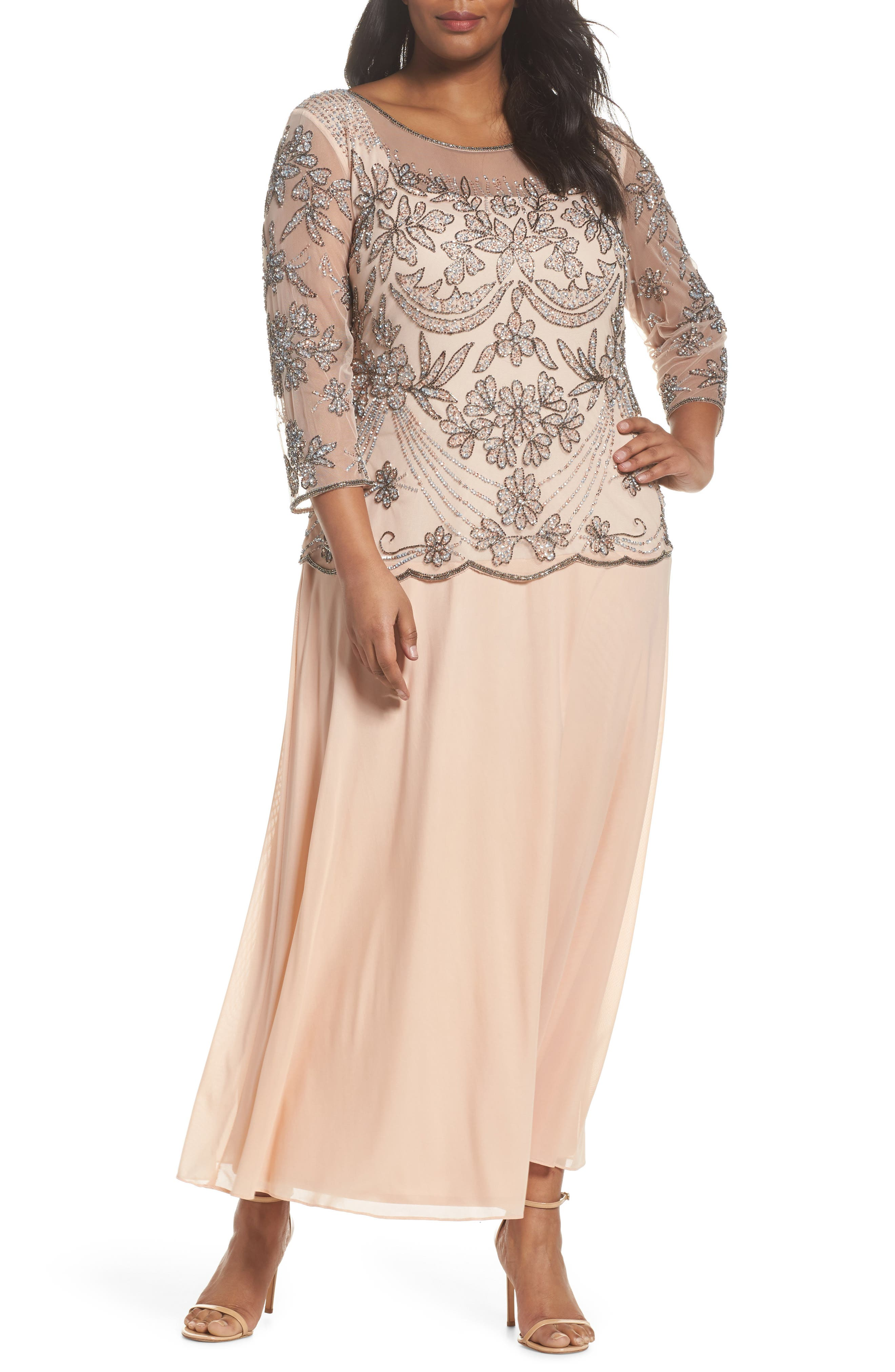 Embellished Illusion Bodice Gown,                         Main,                         color, Blush