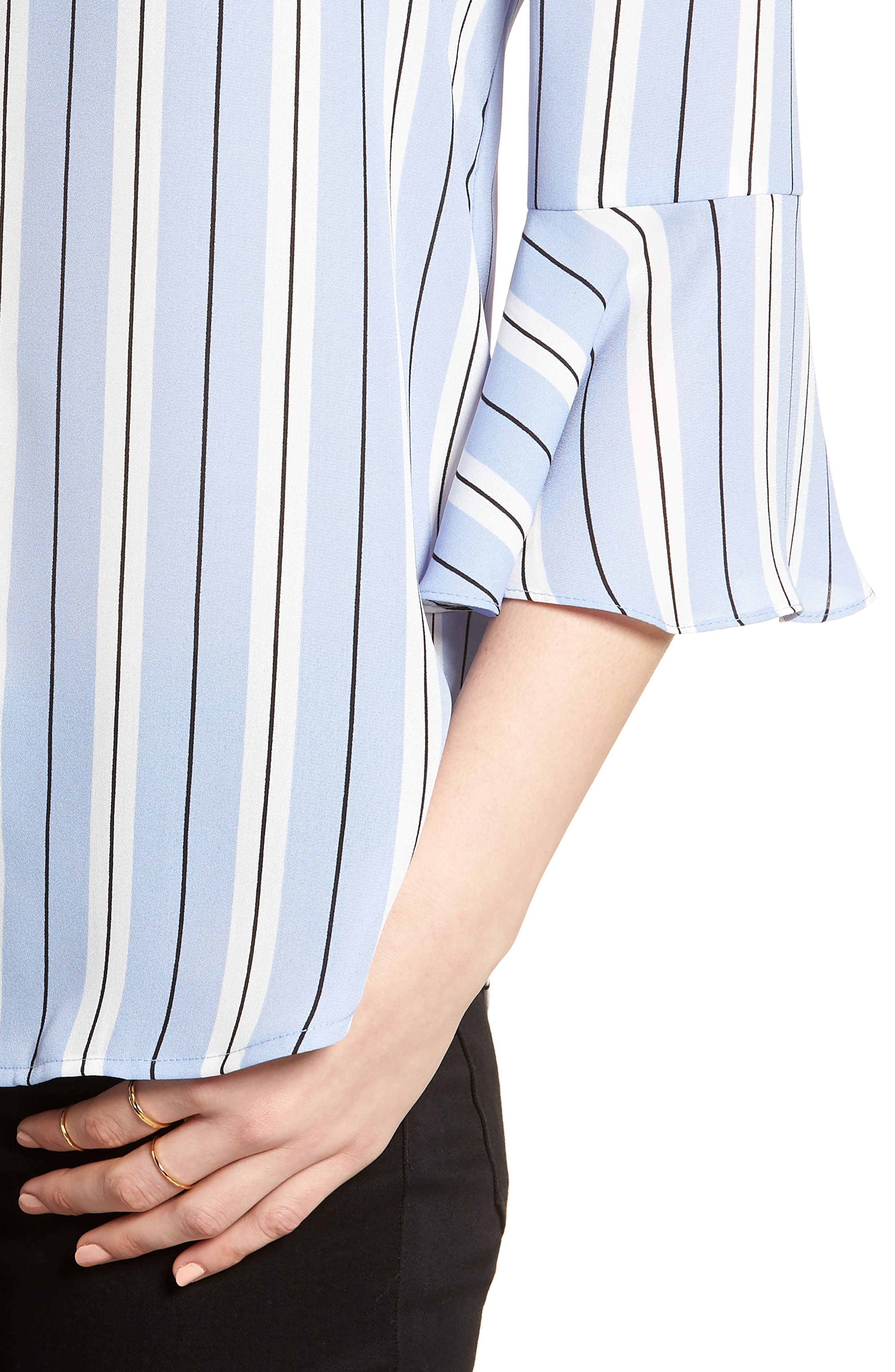 Print Bell Sleeve Shirt,                             Alternate thumbnail 4, color,                             Blue Black Stripes