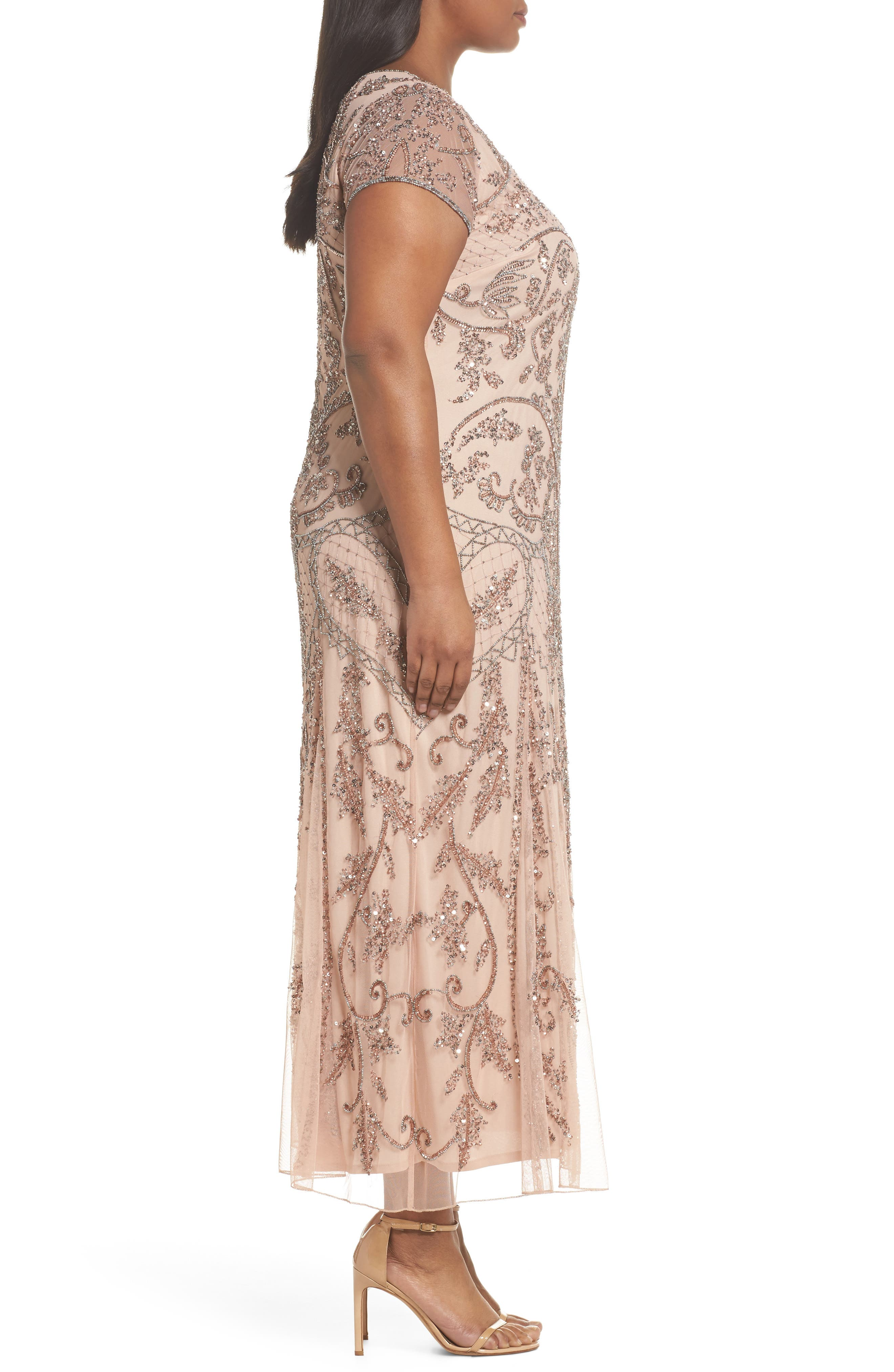 Beaded Short Sleeve Column Gown,                             Alternate thumbnail 3, color,                             Blush