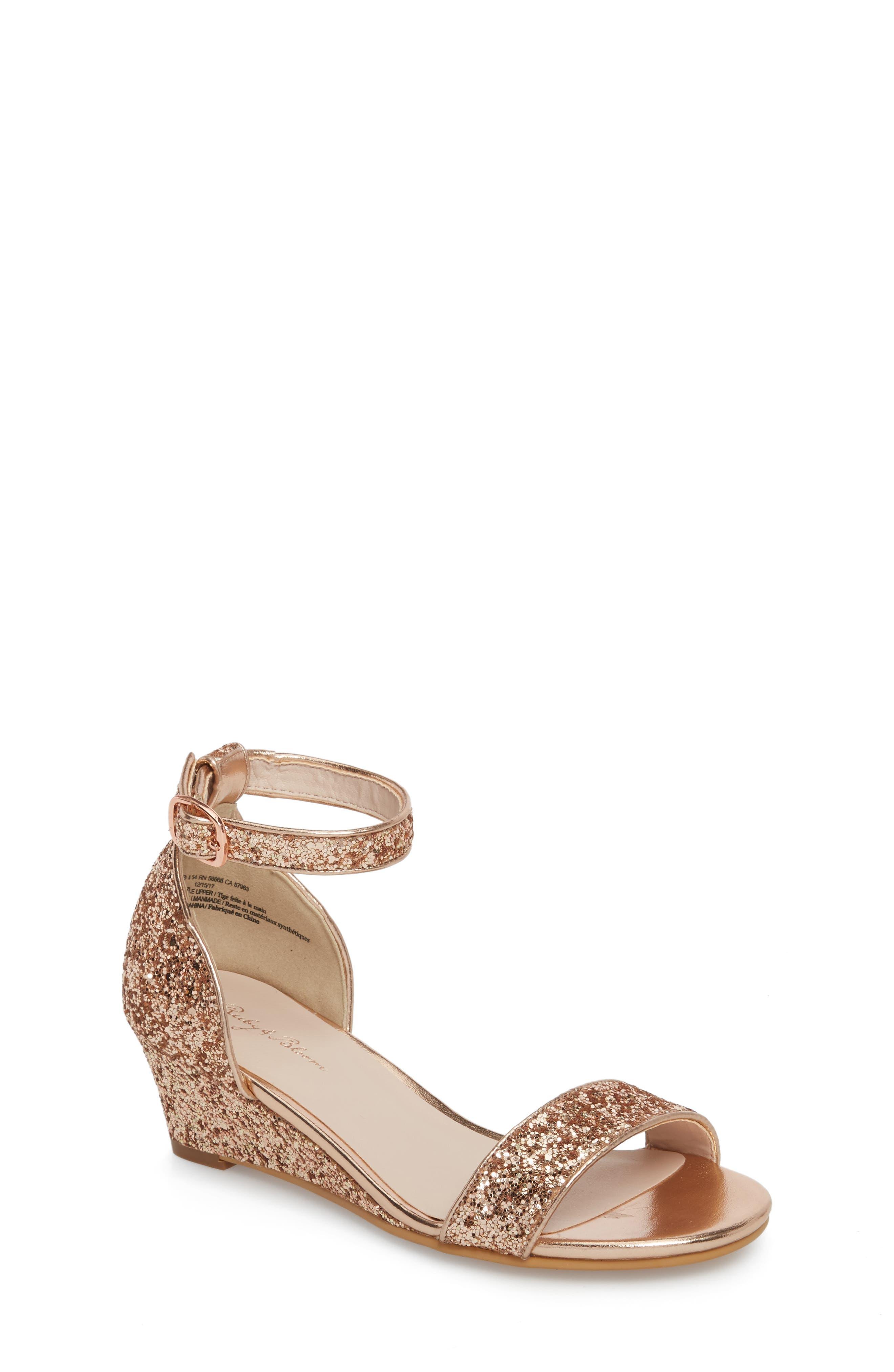 Remi Wedge Sandal,                         Main,                         color, Rose Gold Glitter
