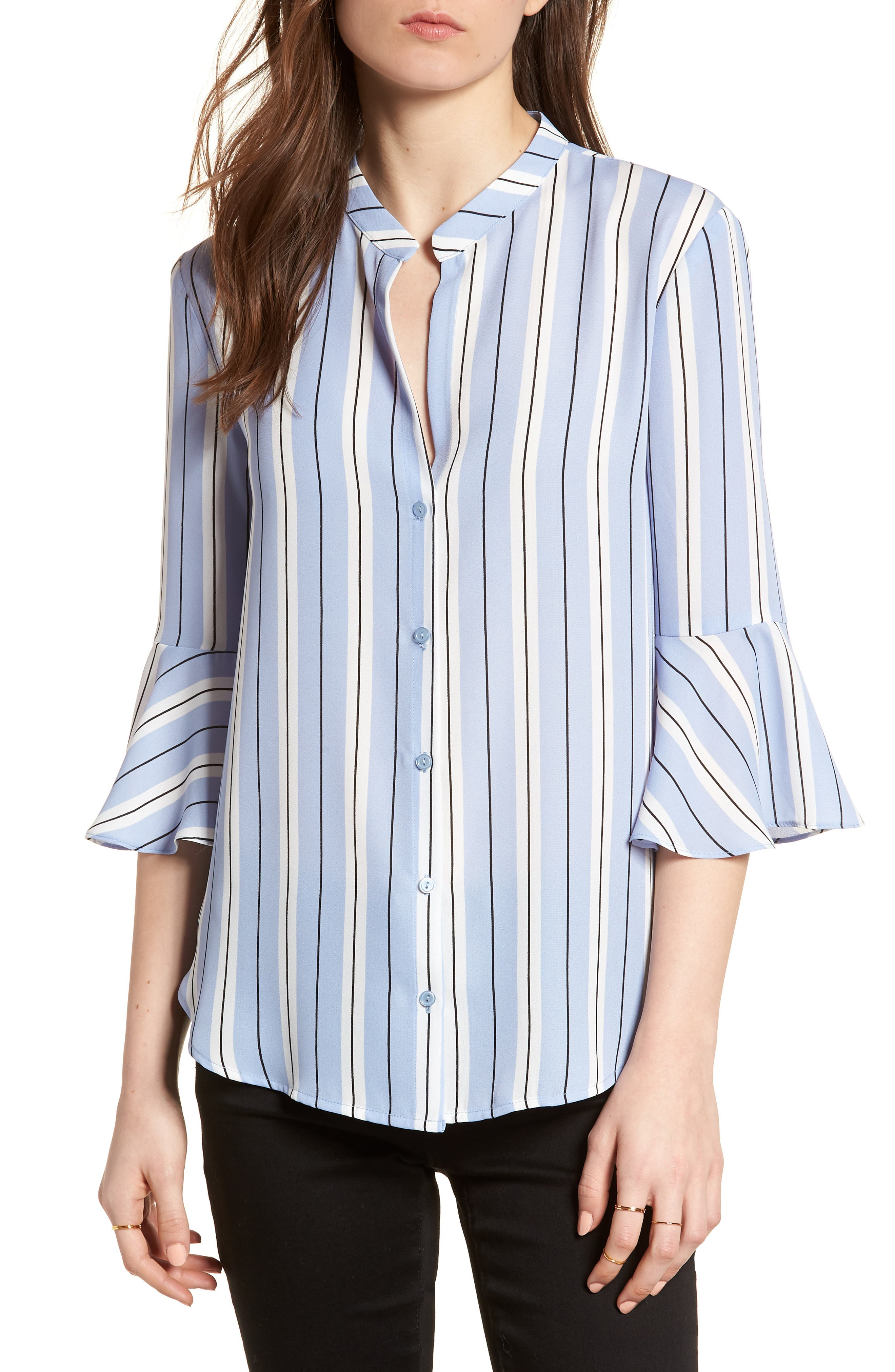 Print Bell Sleeve Shirt,                         Main,                         color, Blue Black Stripes