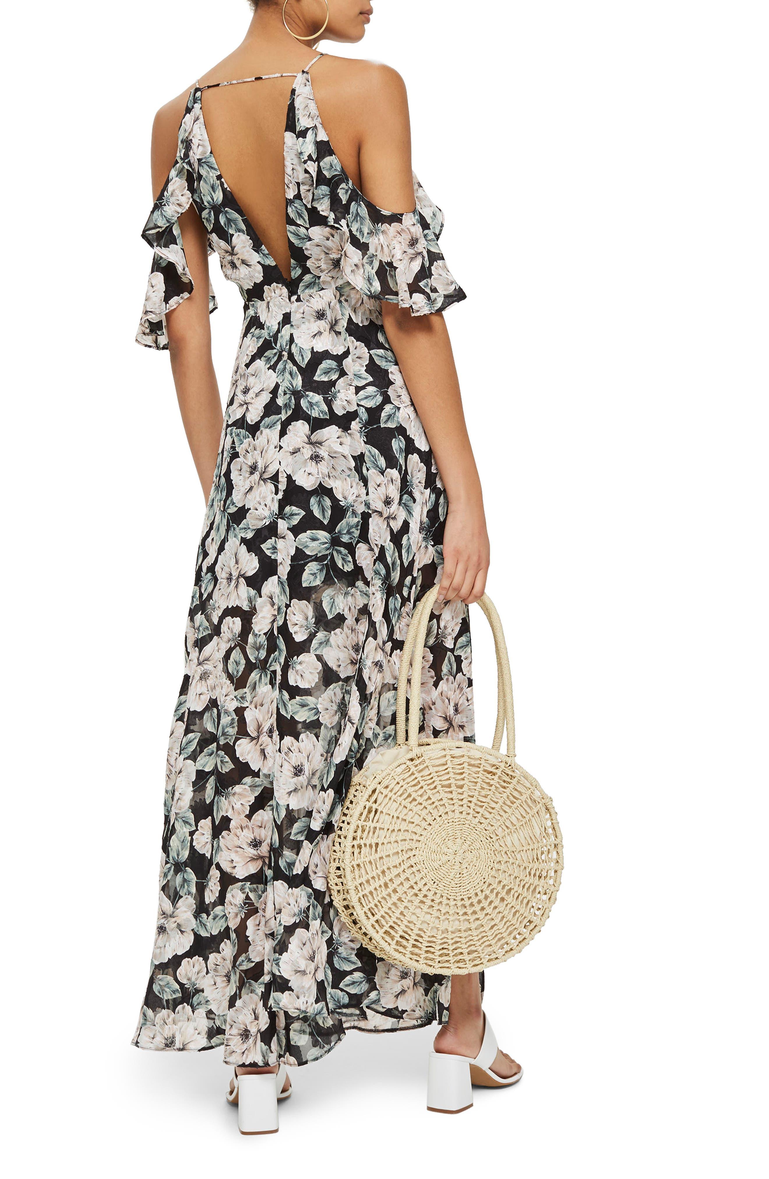 Devoré Floral Cold Shoulder Dress,                             Alternate thumbnail 2, color,                             Black Multi