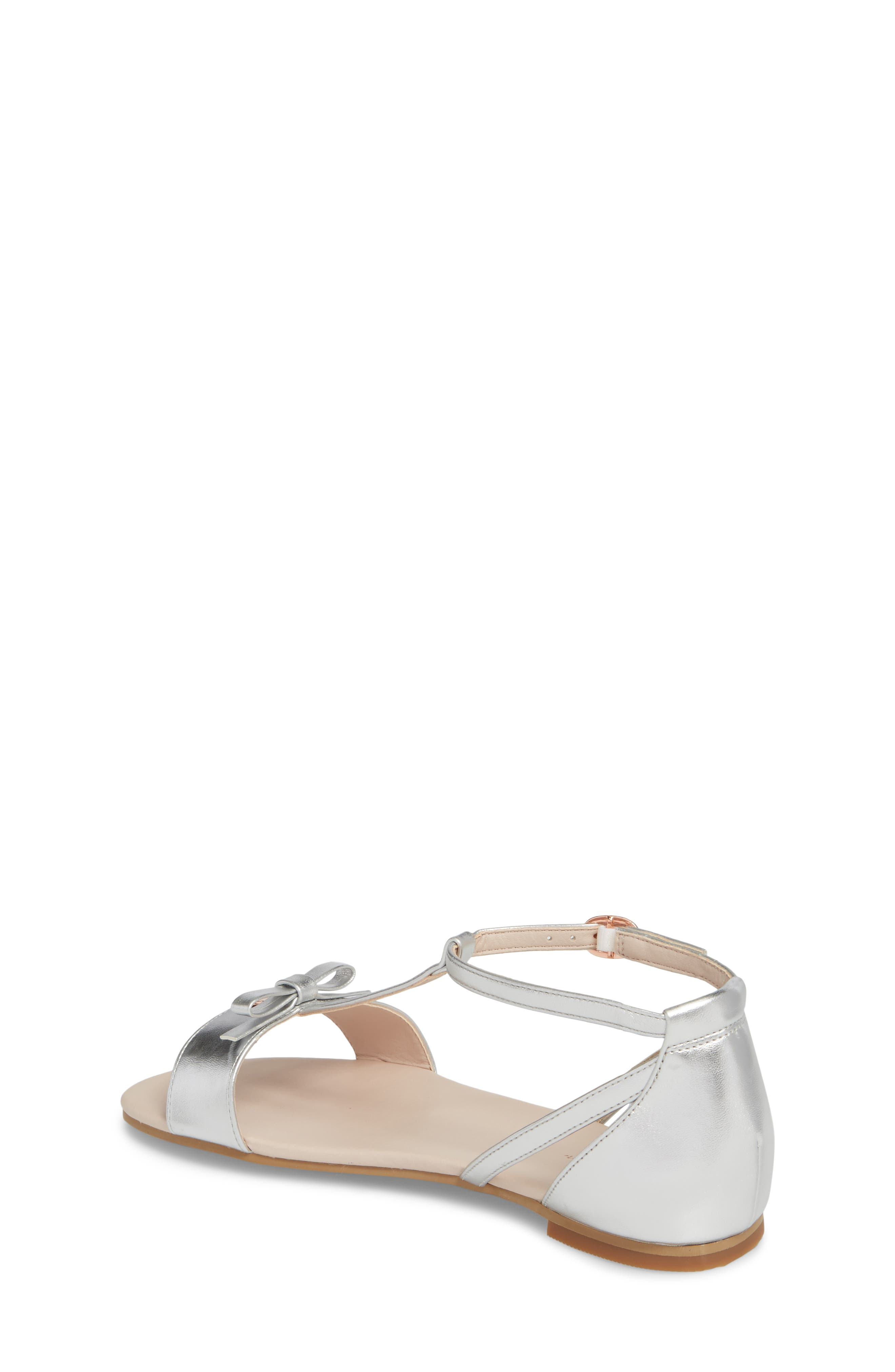 Valentina Metallic T-Strap Sandal,                             Alternate thumbnail 2, color,                             Silver Faux Leather
