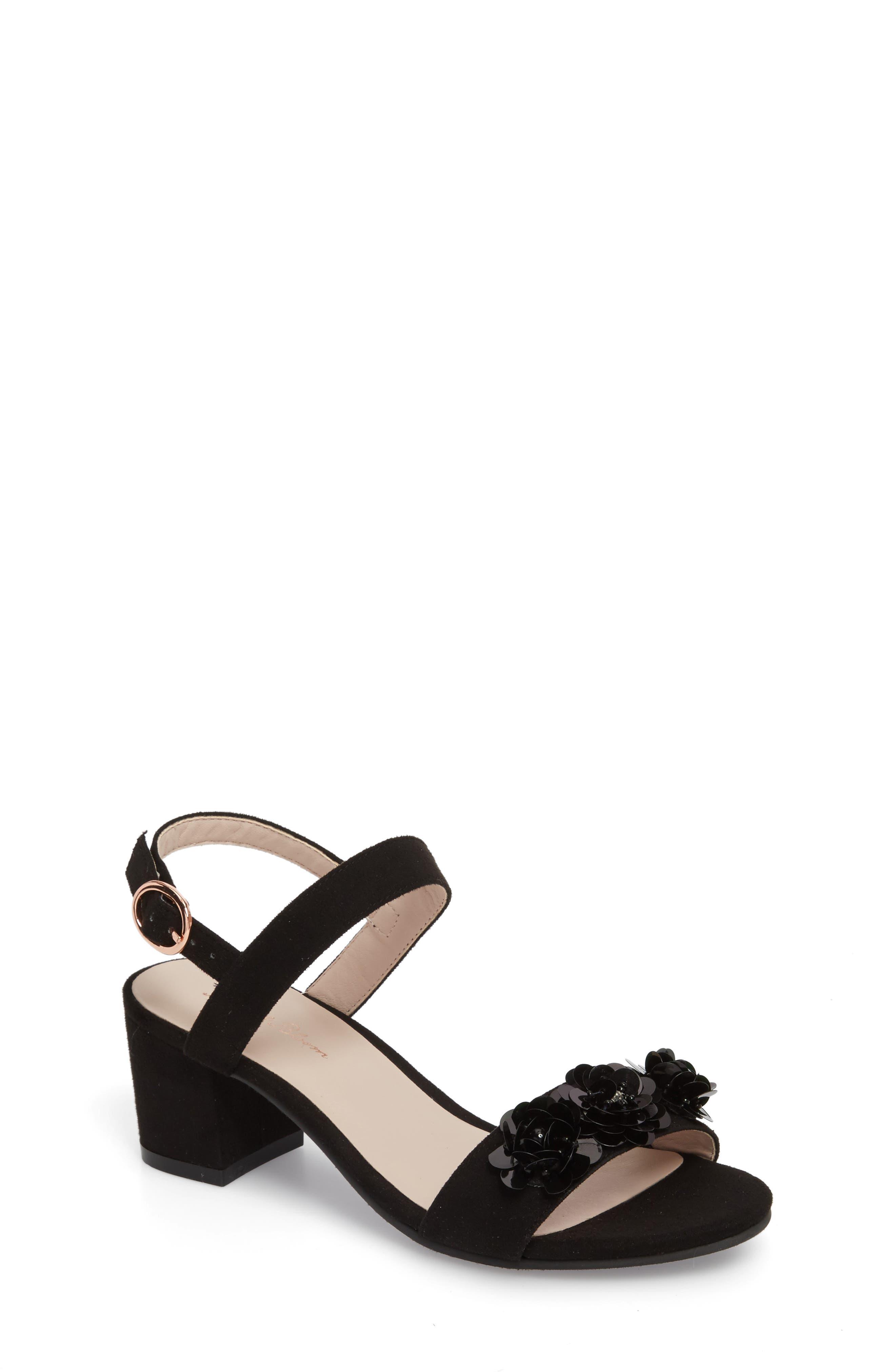 Dina Floral Embellished Sandal,                             Main thumbnail 1, color,                             Black Fabric