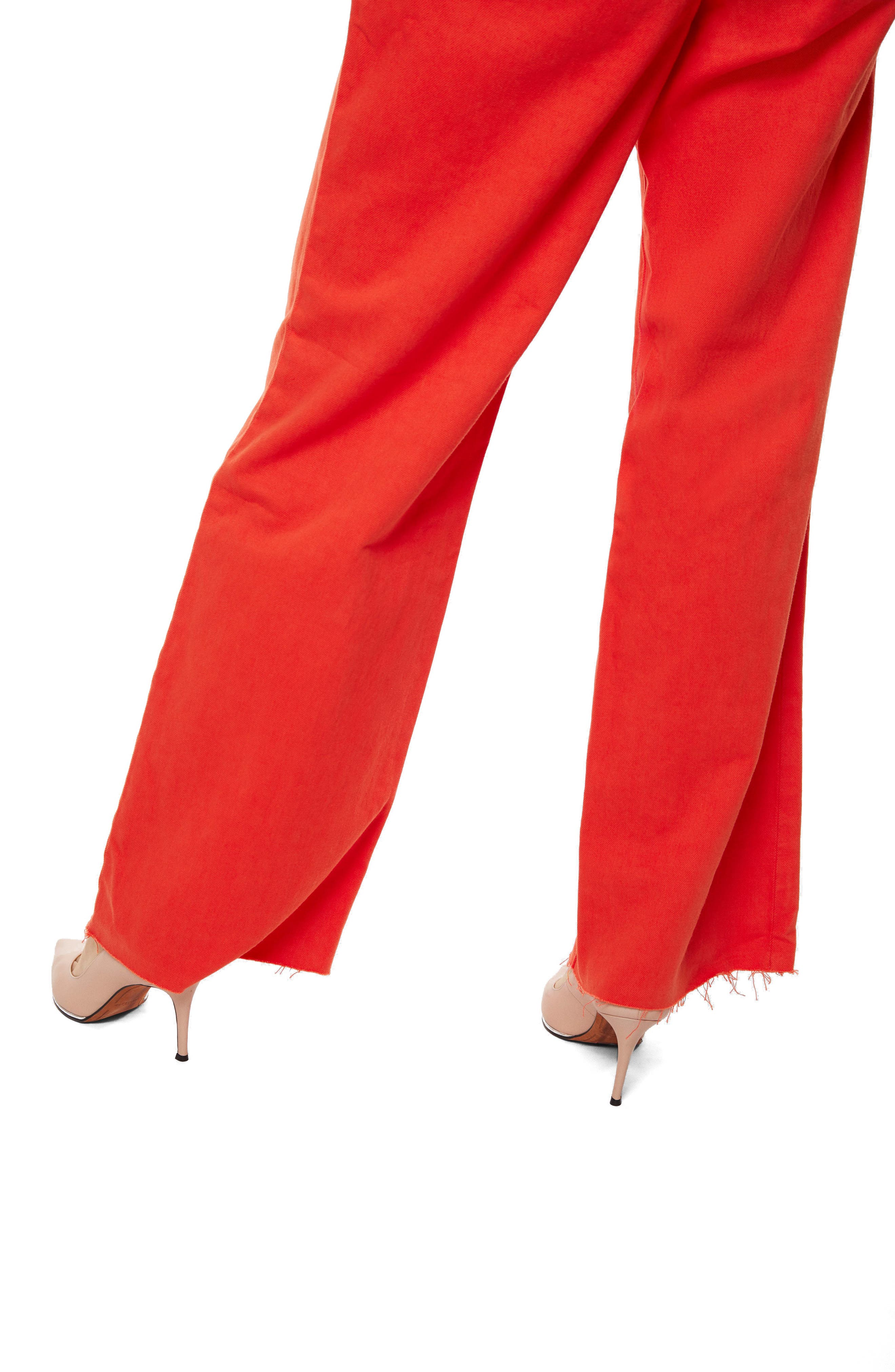 High Waist Wide Leg Pants,                             Alternate thumbnail 4, color,                             Bright Coral