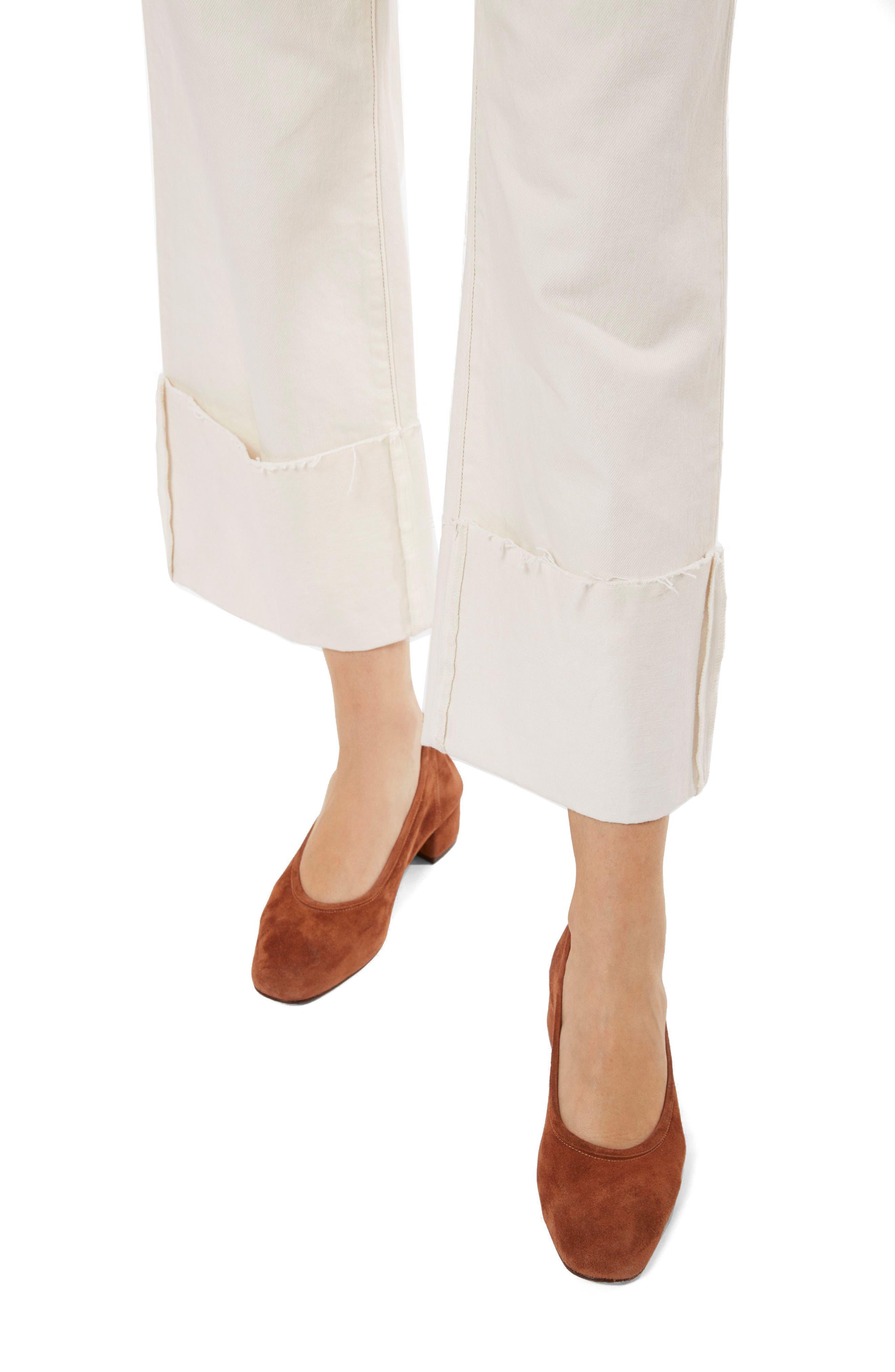 Joan High Waist Crop Wide Leg Jeans,                             Alternate thumbnail 4, color,                             Macadamia