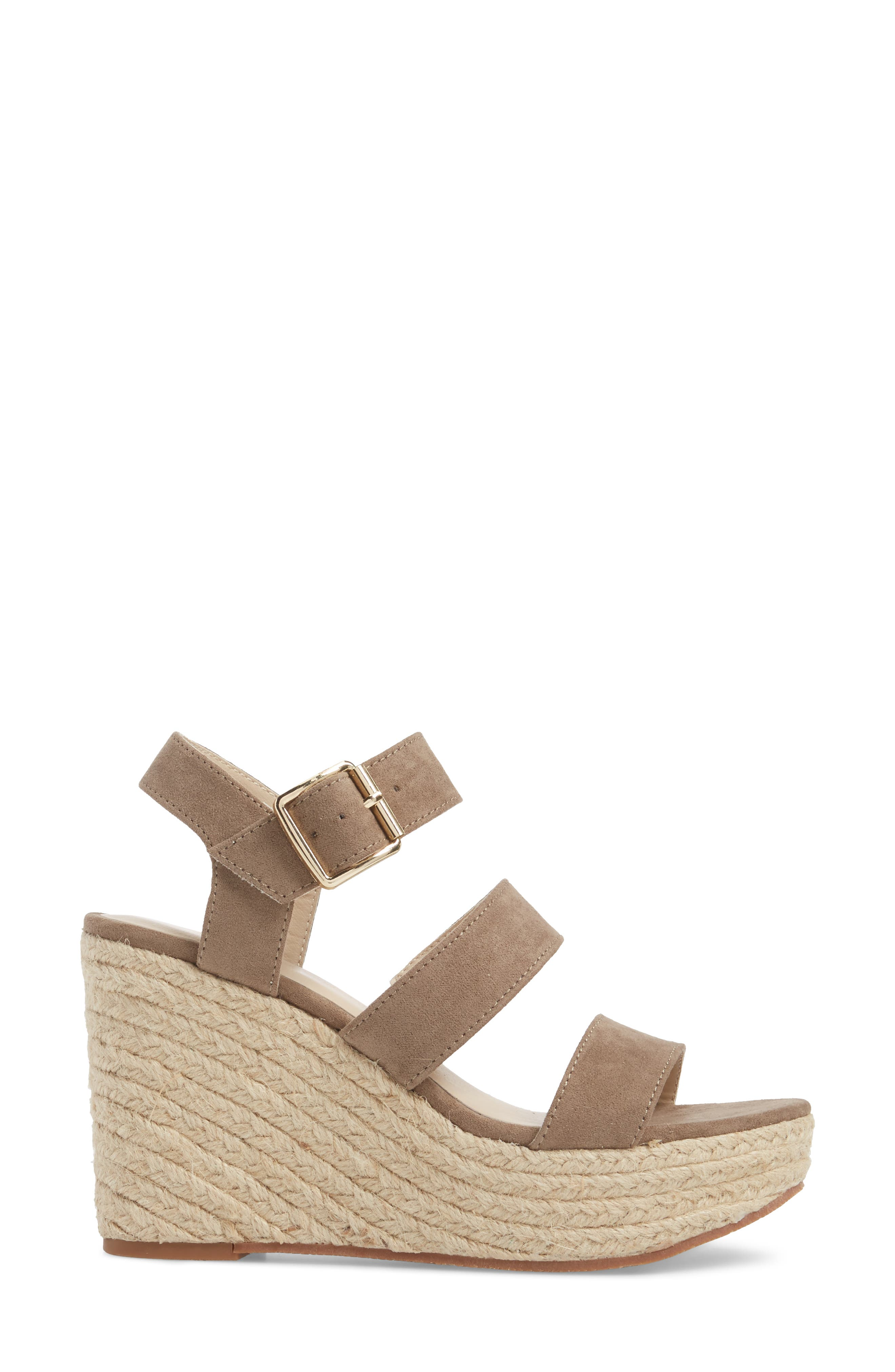 Snack Bar Espadrille Wedge Sandal,                             Alternate thumbnail 3, color,                             Taupe Suede