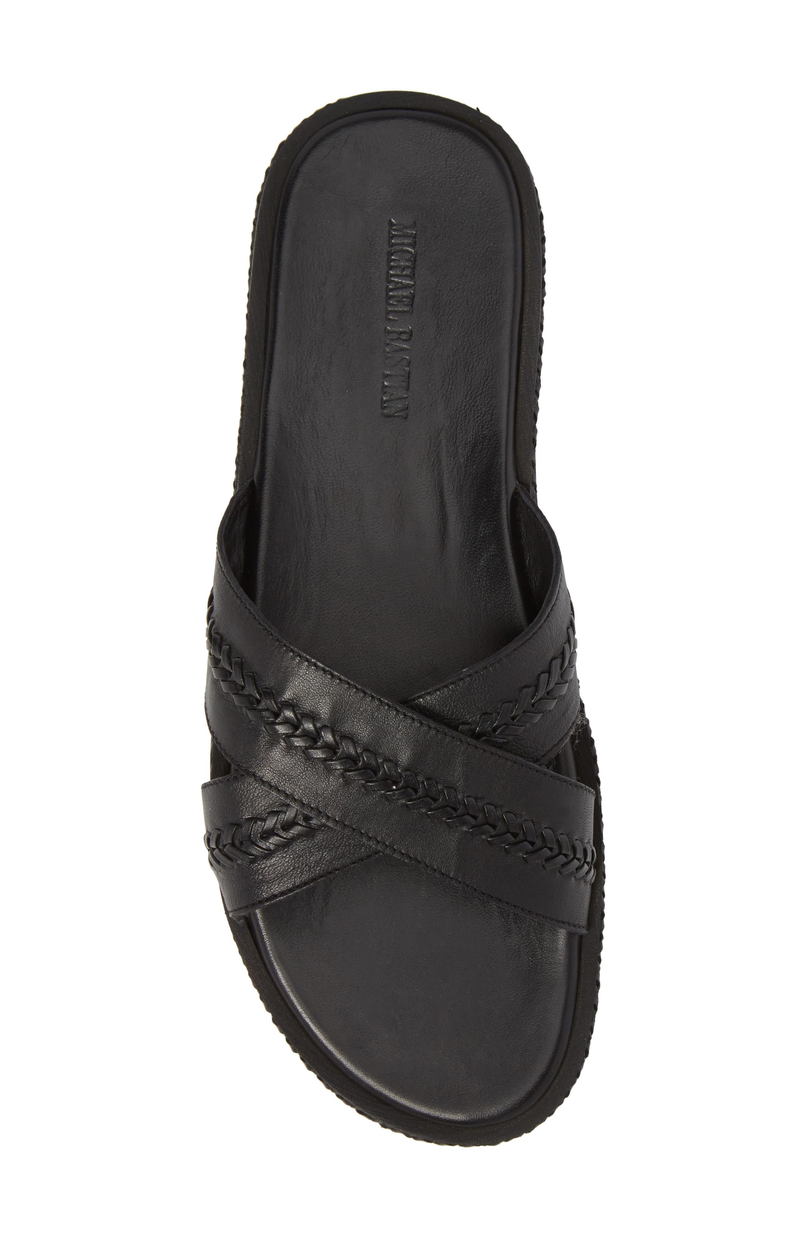 Woven Cross Strap Slide Sandal,                             Alternate thumbnail 5, color,                             Black Leather